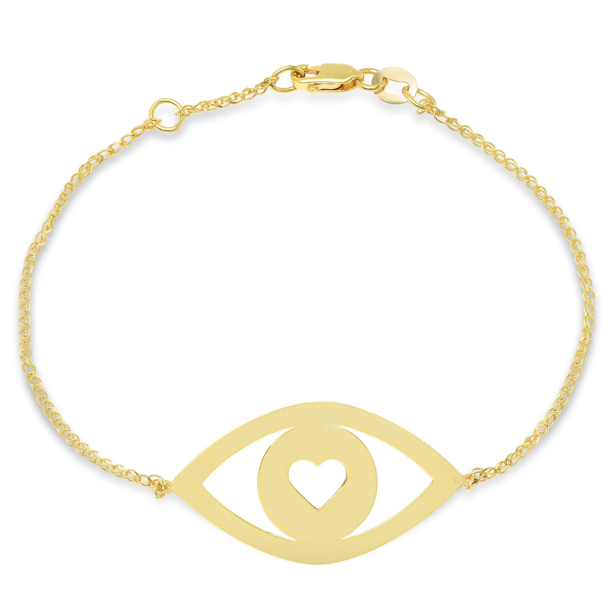 14k Yellow Gold Evil Eye Heart Bracelet