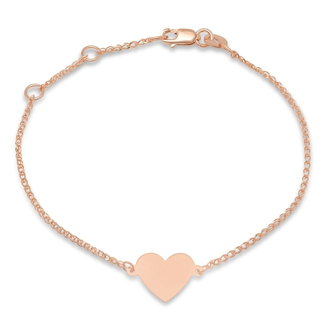 Kids' 14k Rose Gold Floating Heart Bracelet