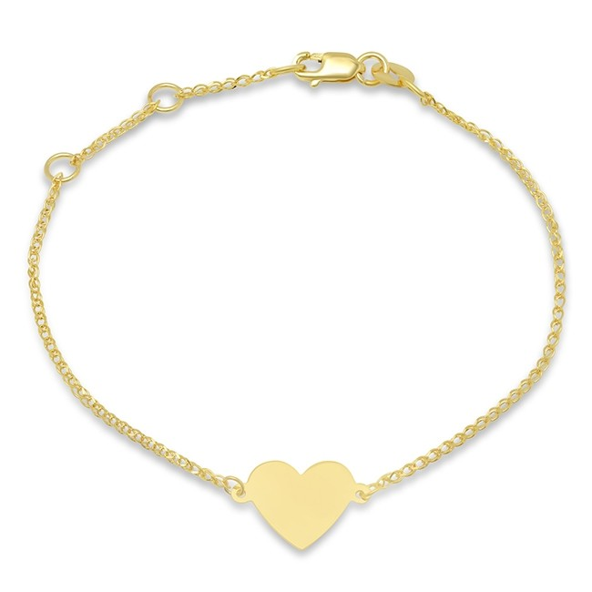 Kids' 14k Yellow Gold Floating Heart Bracelet
