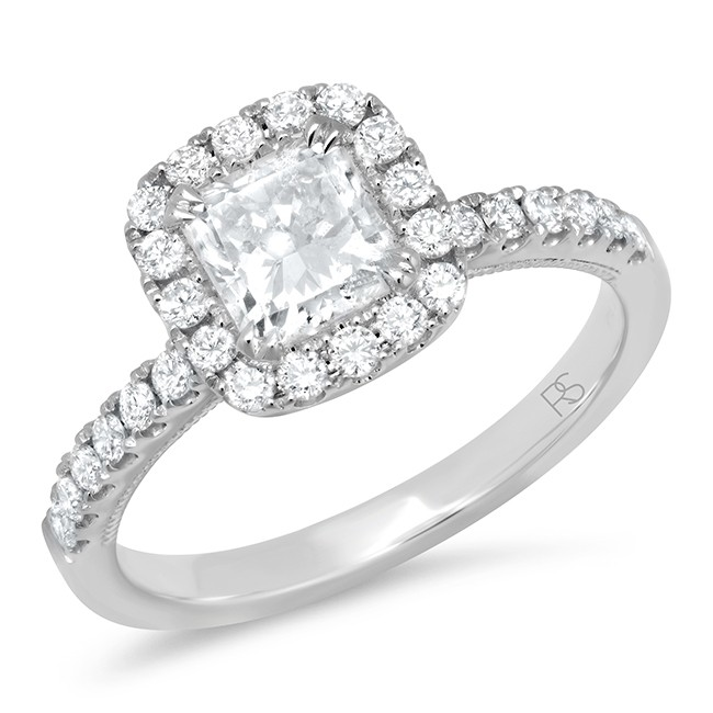 14k White Gold Radiant Shape Diamond Halo Ring