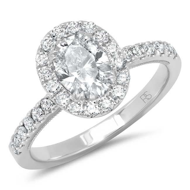 14k White Gold Diamond Halo Oval Cut Engagement Ring