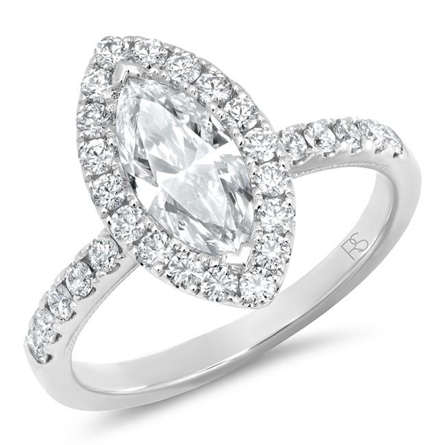 14k White Gold Marquise Shape Diamond Halo Ring