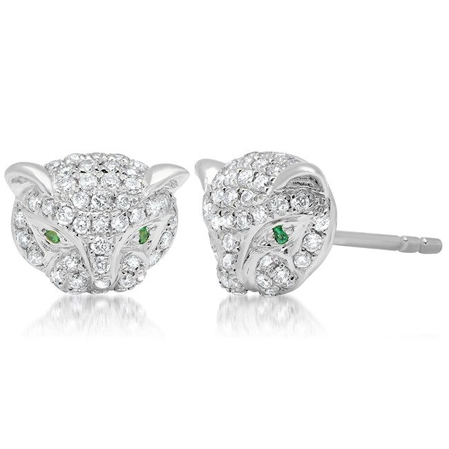 14k White Gold Diamond Emerald Panther Stud Earrings