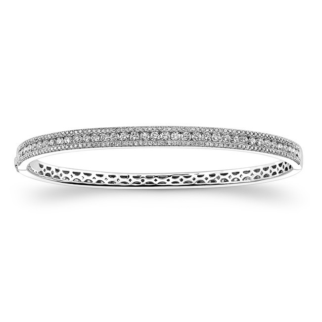 14k White Gold Diamond Stackable Bangle