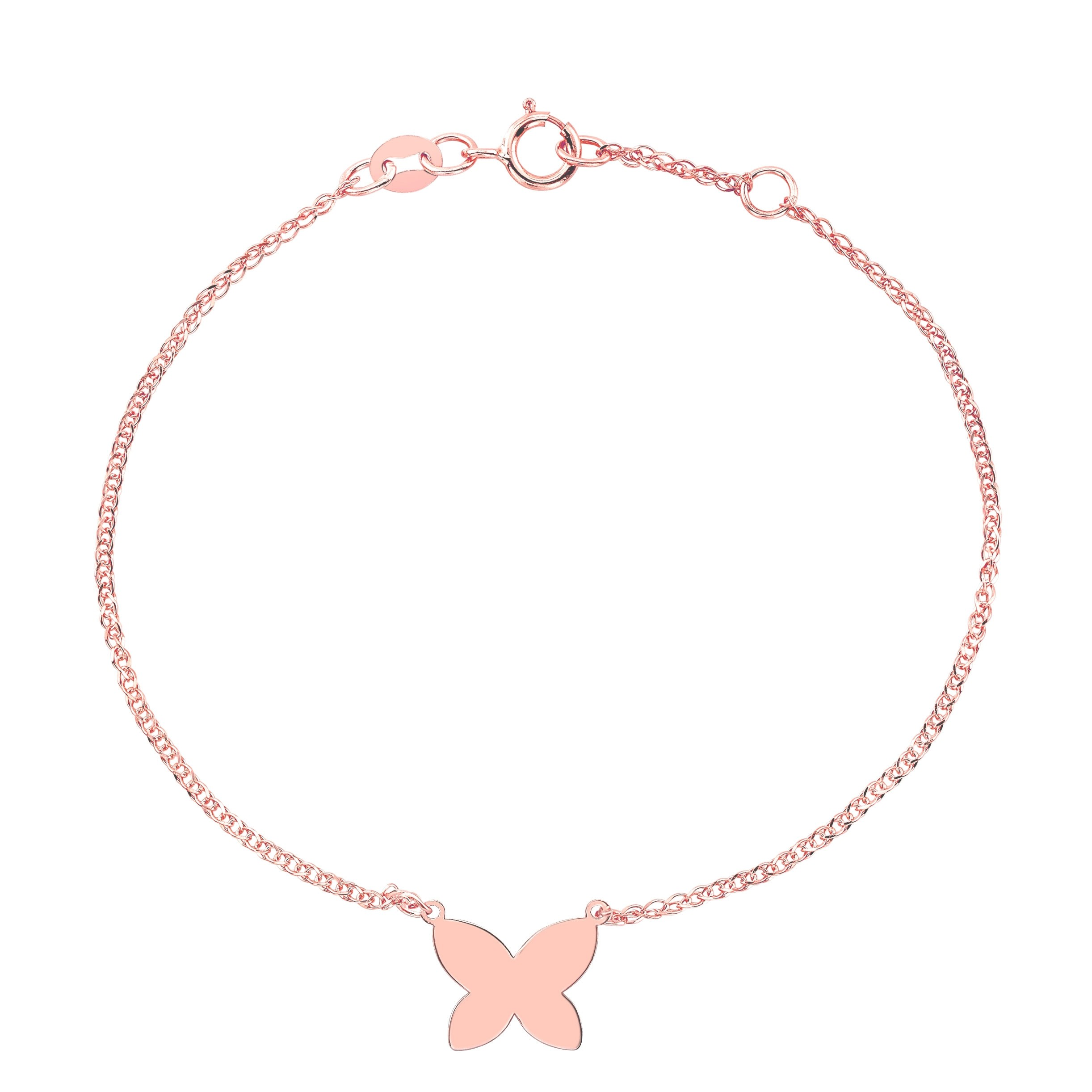 Kids 14k Rose Gold Floating Butterfly Bracelet