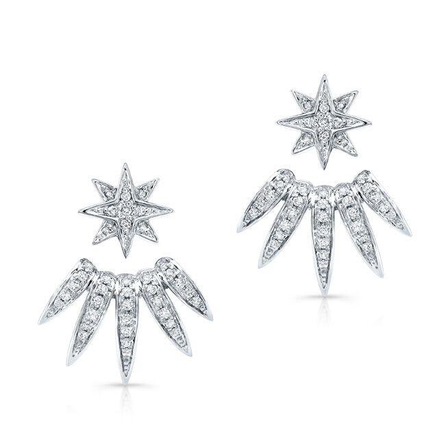 14k White Gold Diamond Spike Ear Jacket