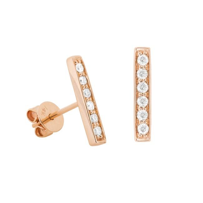 Rose Gold Diamond Bar Stud Earrings