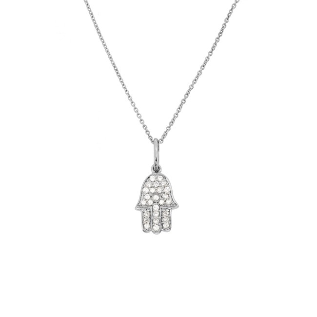14k White Gold Diamond Hamsa Hand of Fatima Necklace