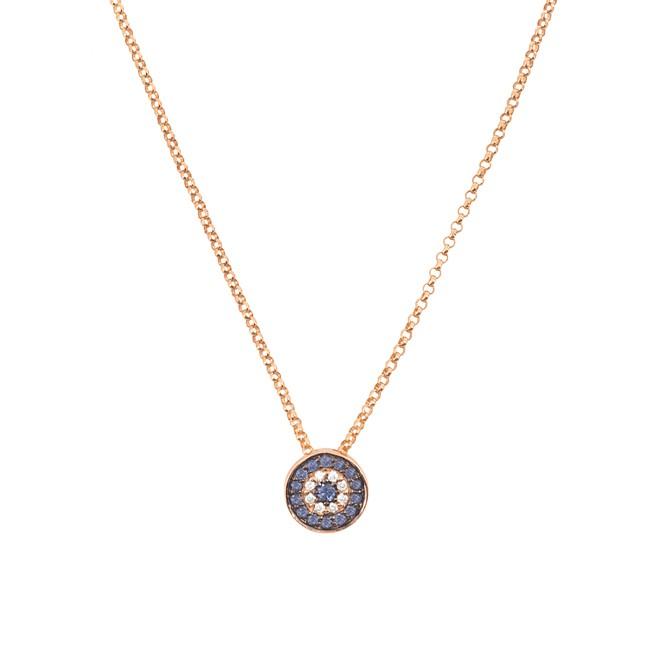 14k Rose Gold Diamond Sapphire Evil Eye Disc Necklace