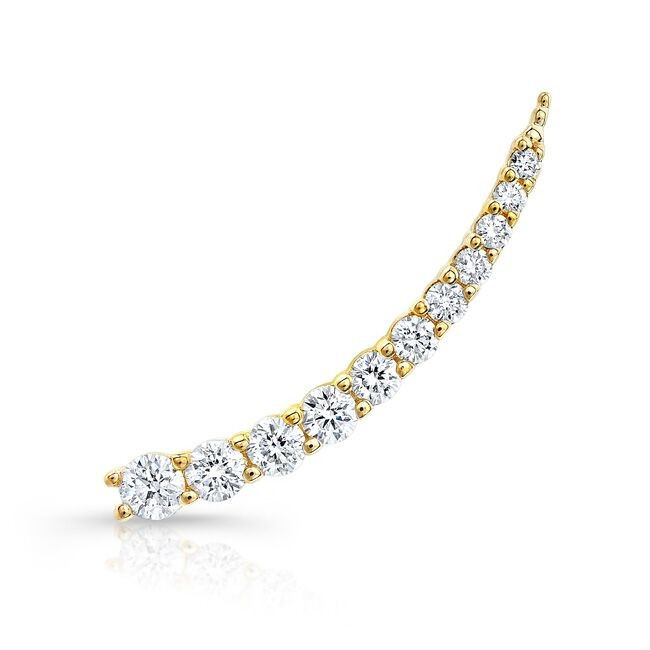 14k Yellow Gold Floating Diamond Ear Crawler Earring