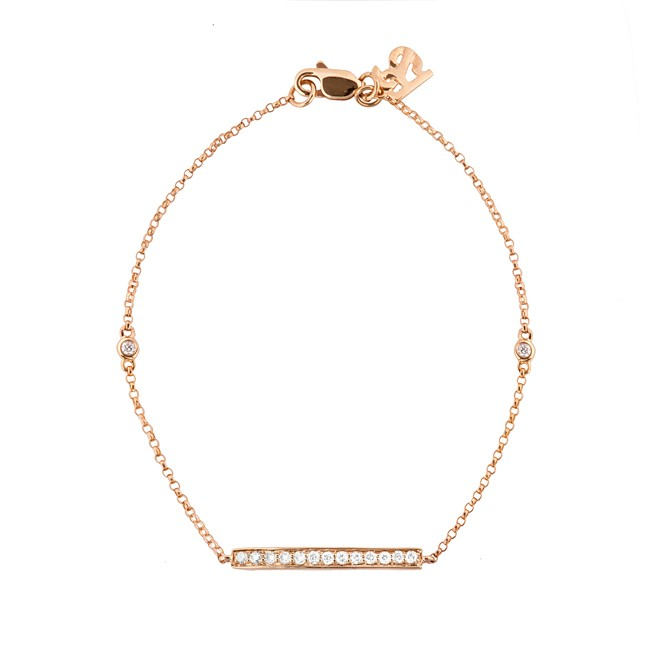 14k Rose Gold Diamond Bar Bracelet