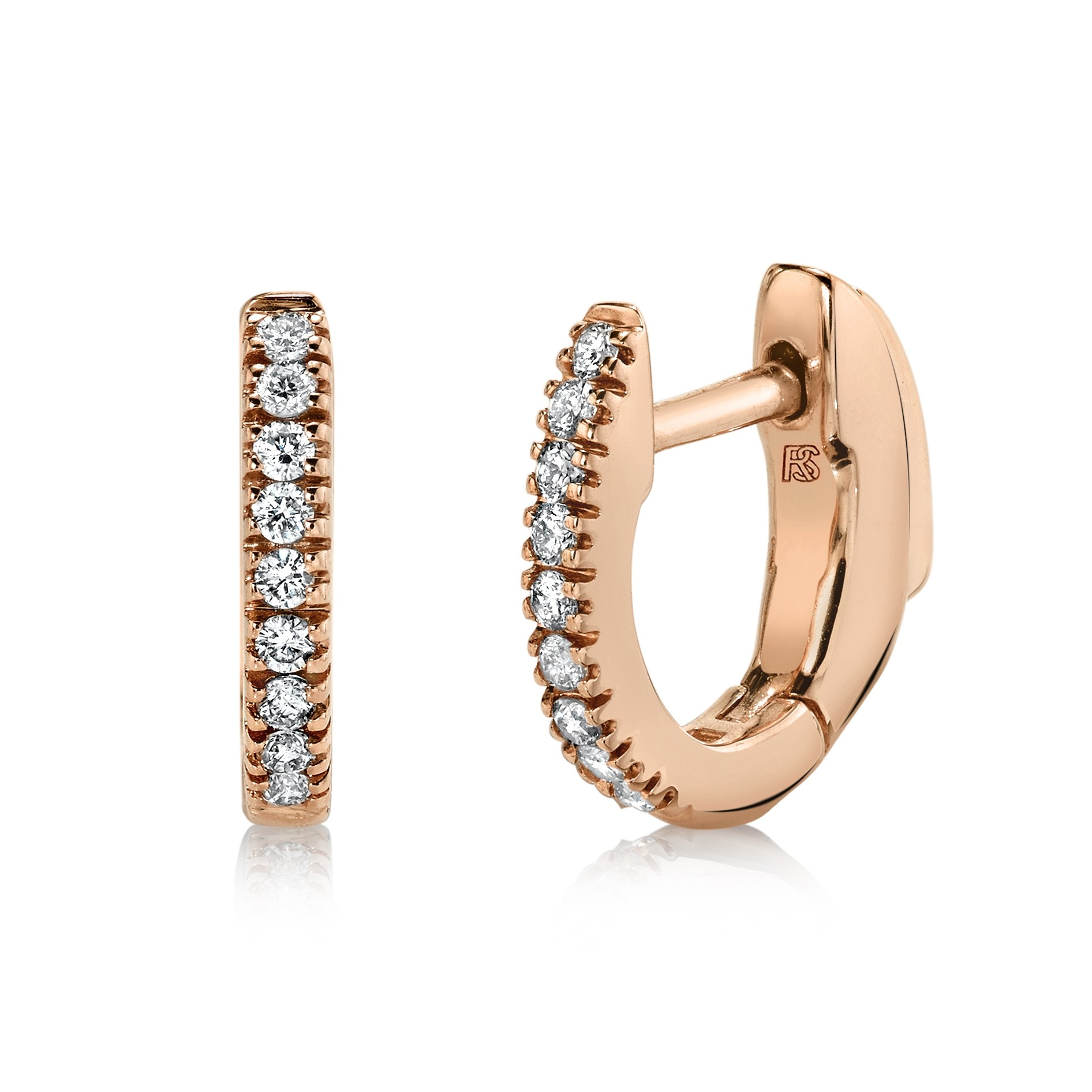 14K Rose Gold Diamond Huggie Hoops with Security Latch