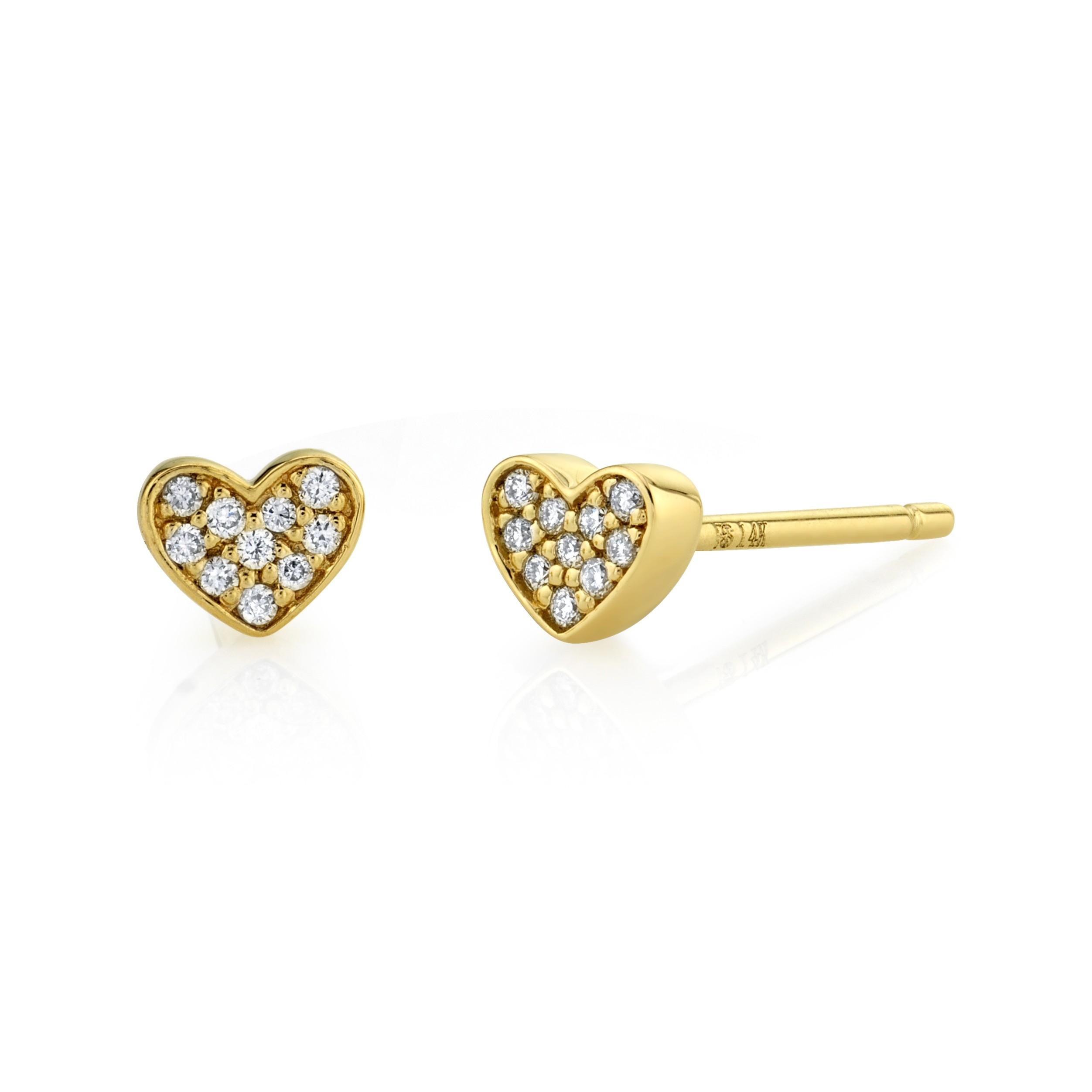 14k Yellow Gold Heart Diamond Earrings
