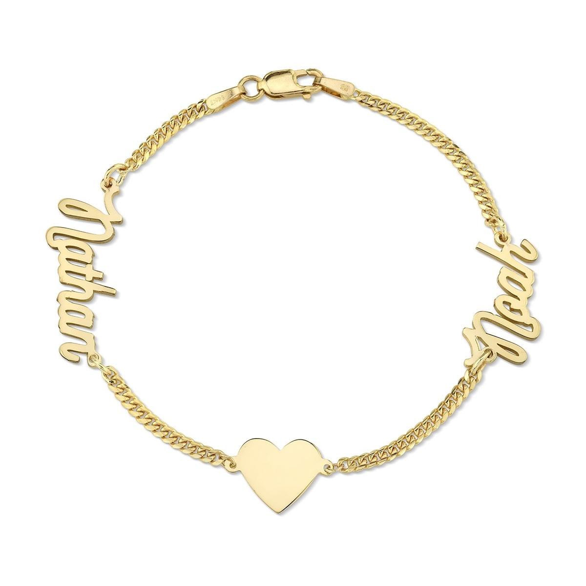 14k Yellow Gold Mini Cuban Link Personalized Script Nameplate Floating Heart Bracelet
