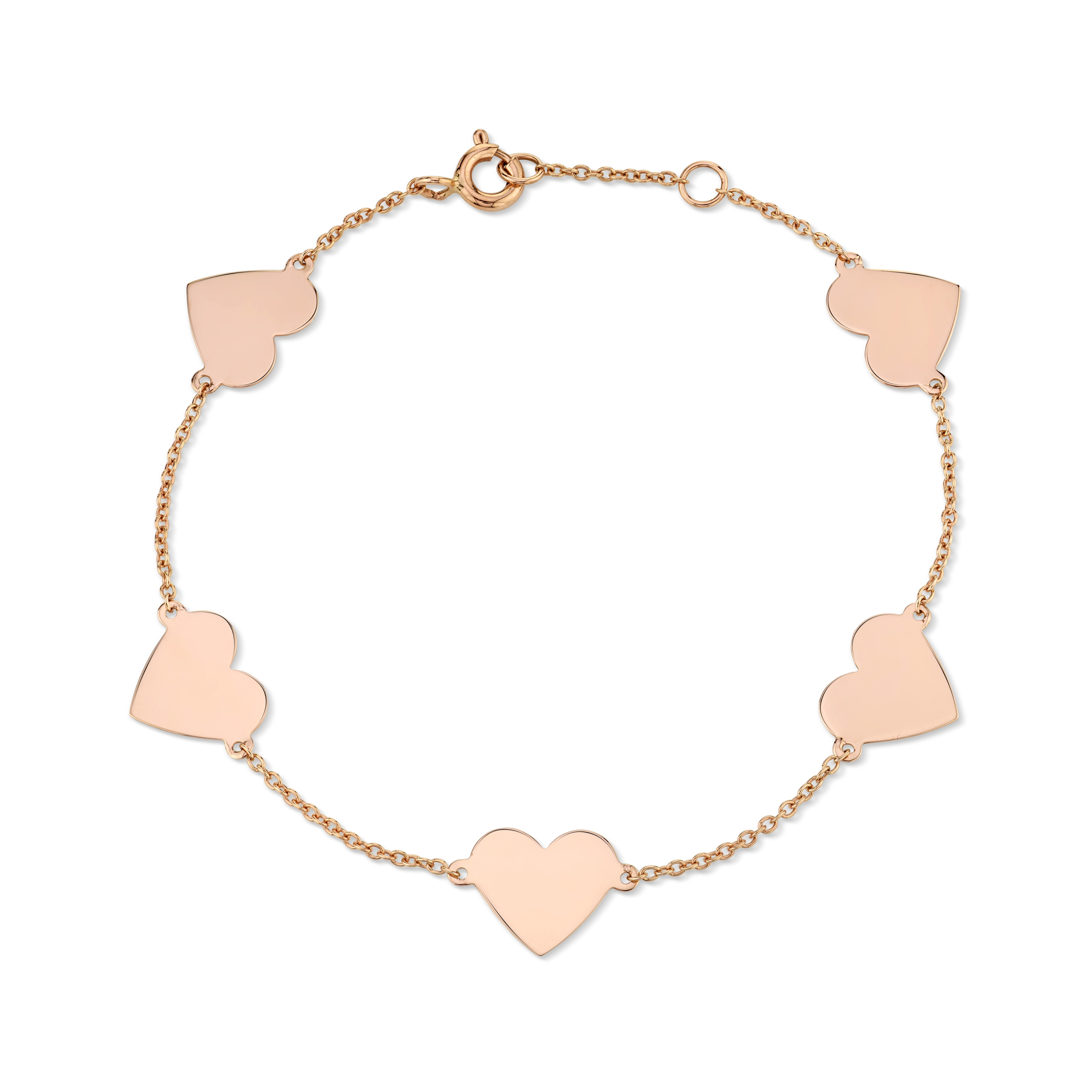 14k Rose Gold 5 Floating Heart Bracelet