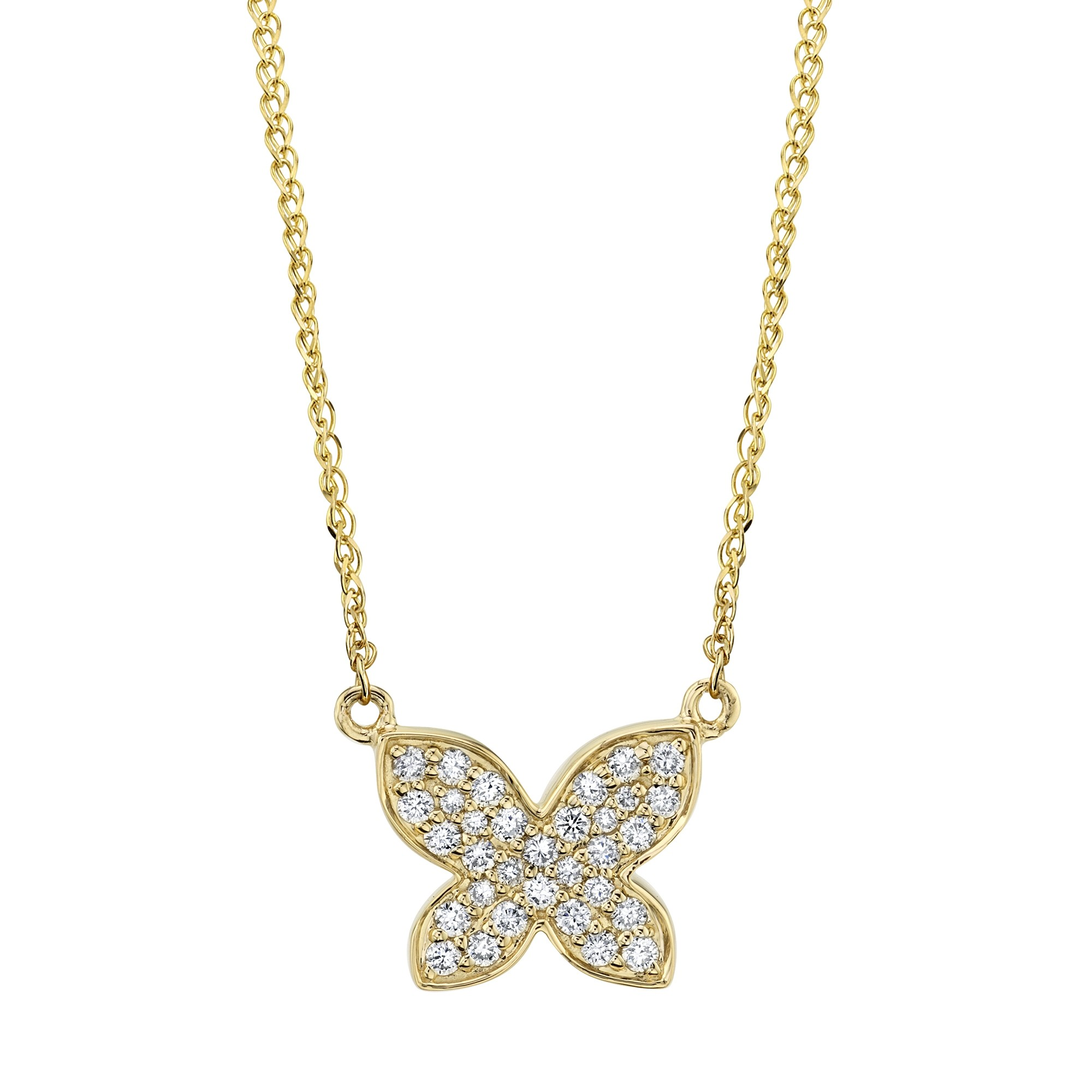 14k Yellow Gold Diamond Floating Butterfly Necklace