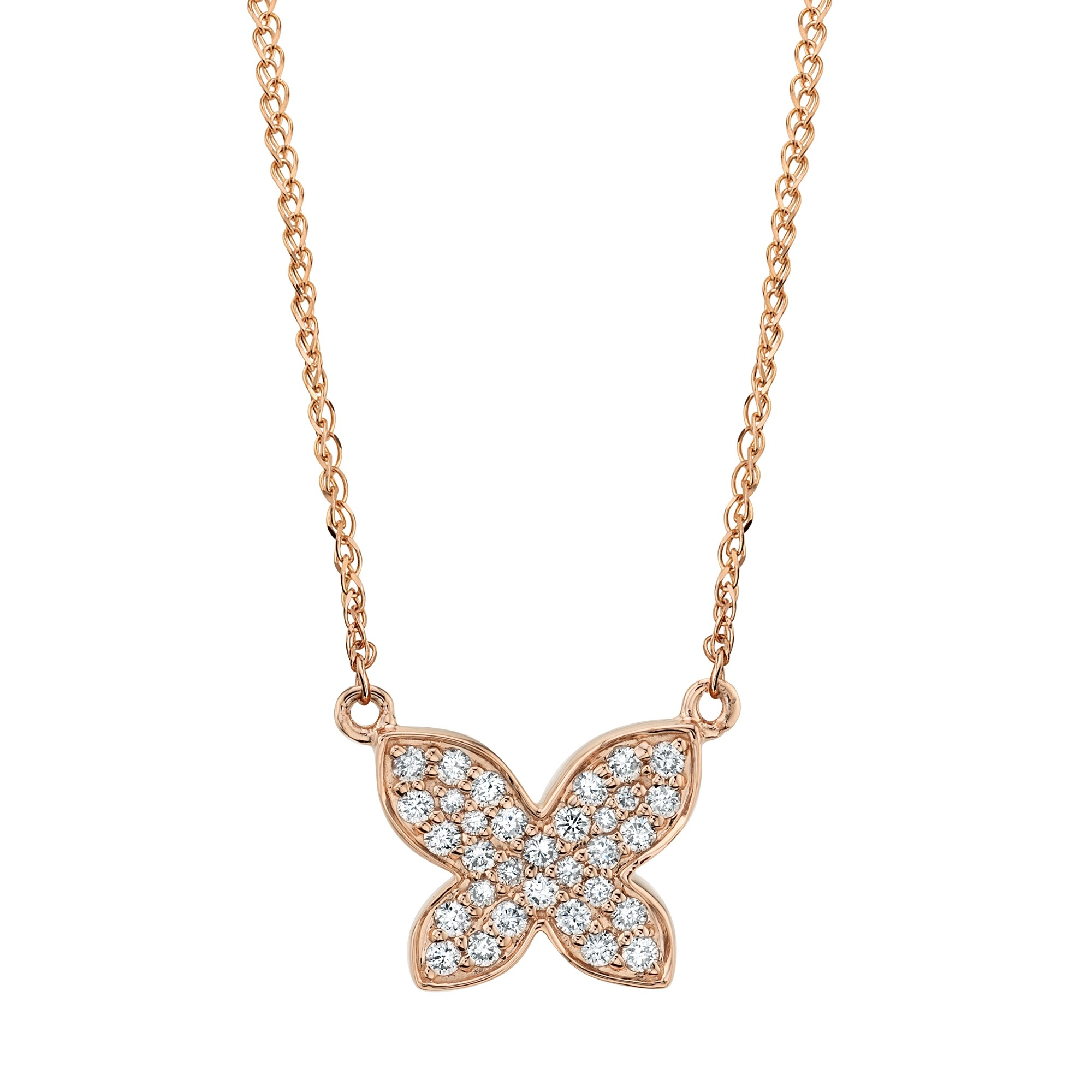 14k Rose Gold Diamond Butterfly Necklace