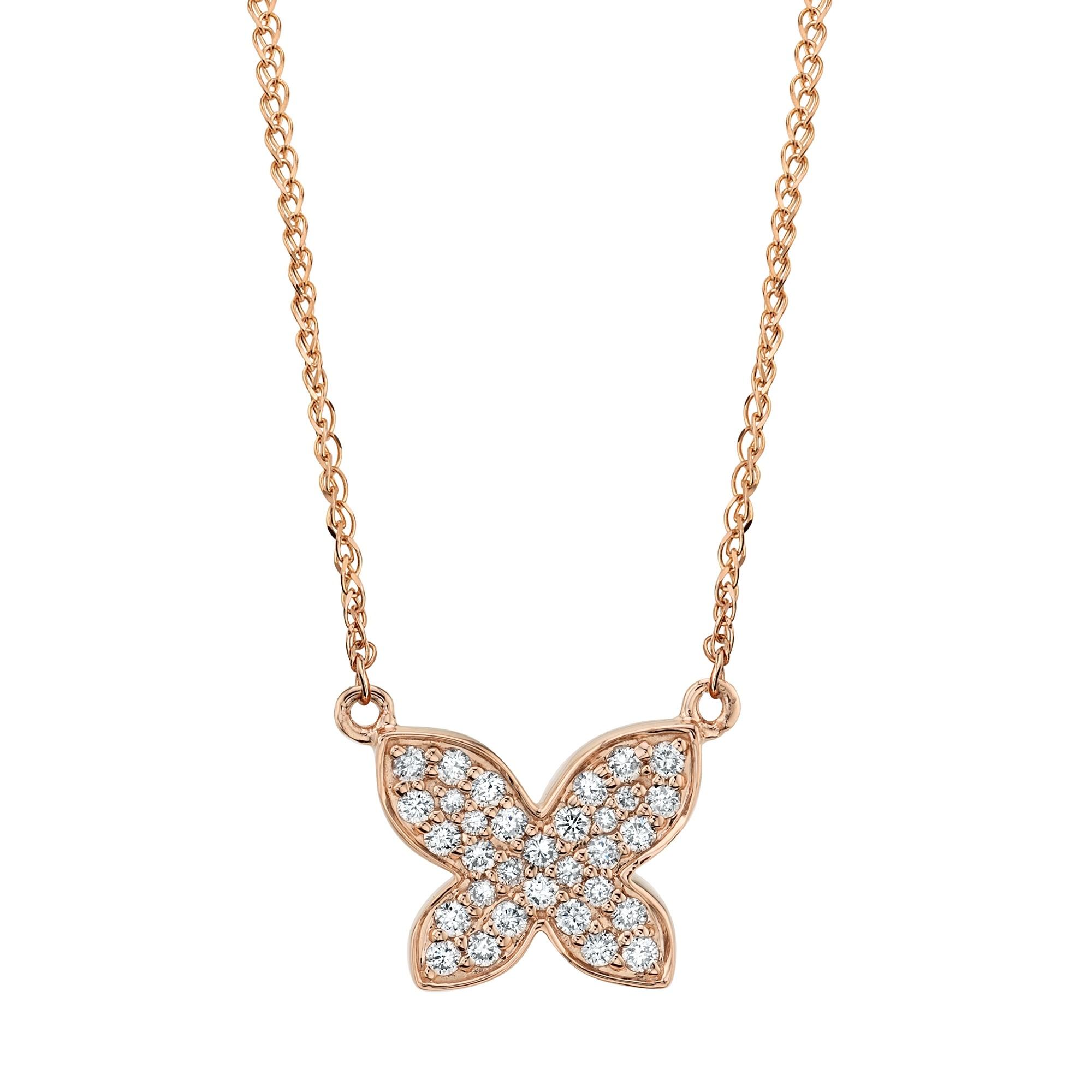 Kids' 14k Rose Gold Diamond Butterfly Necklace