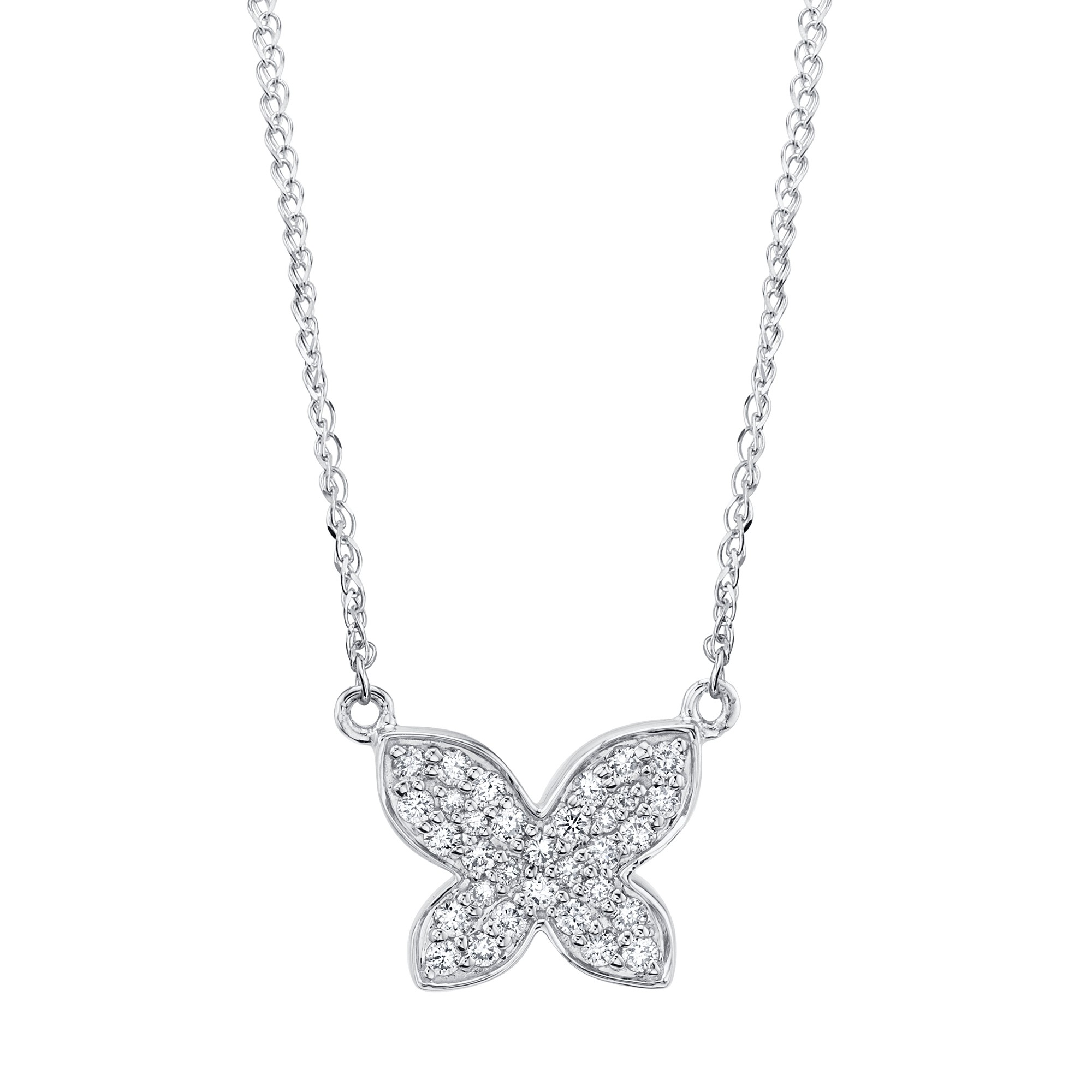 14k White Gold Diamond Floating Butterfly Necklace