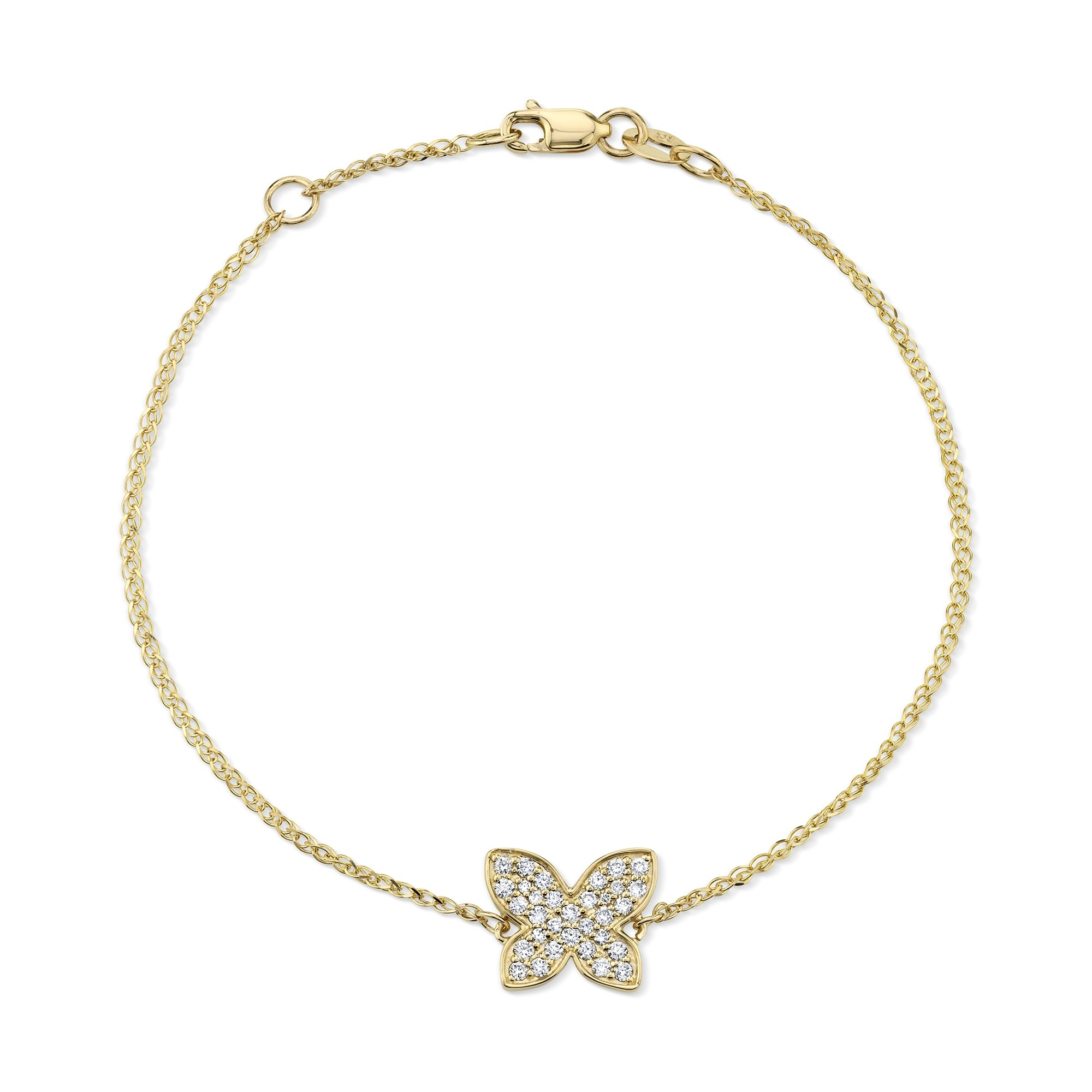 Kids' 14k Yellow Gold Diamond Butterfly Bracelet