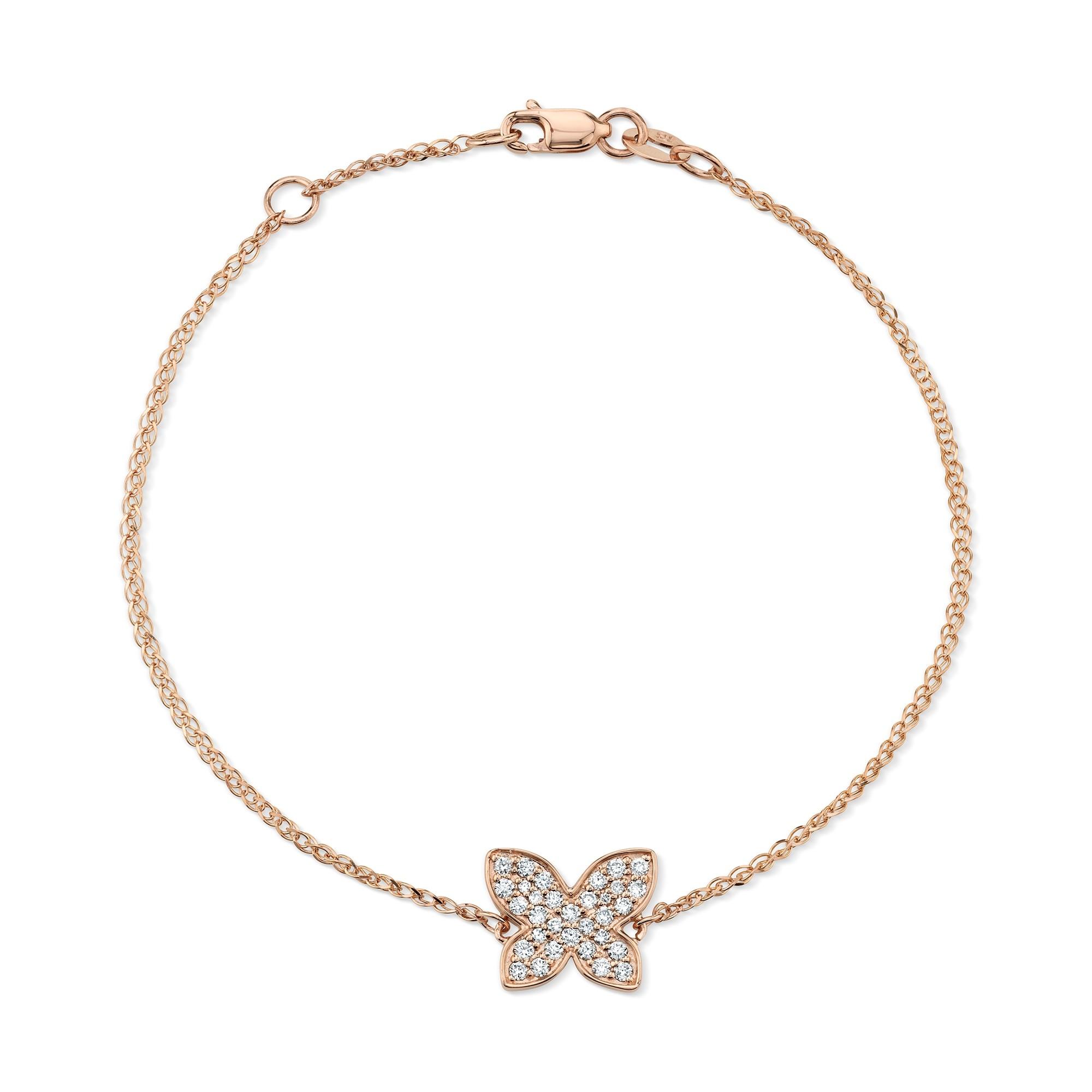 14k Rose Gold Diamond Floating Butterfly Bracelet