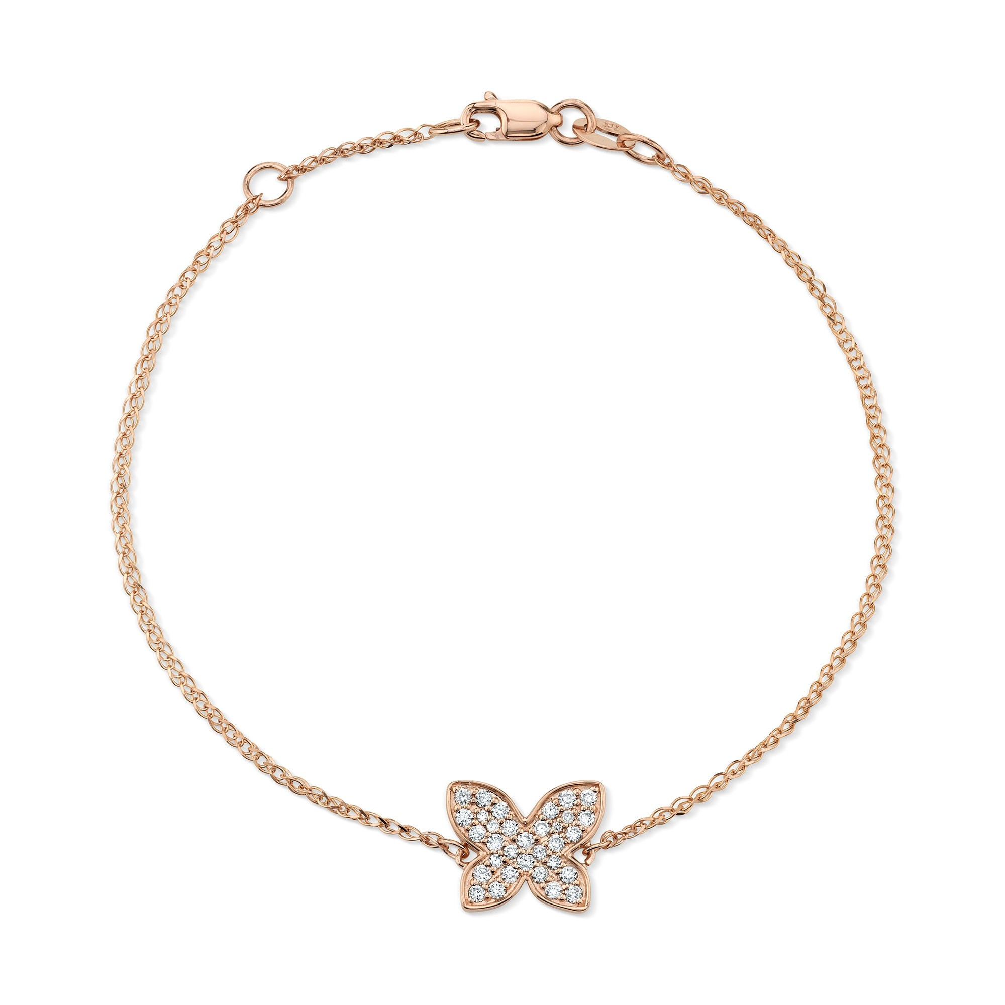 Kids' 14k Rose Gold Diamond Butterfly Bracelet
