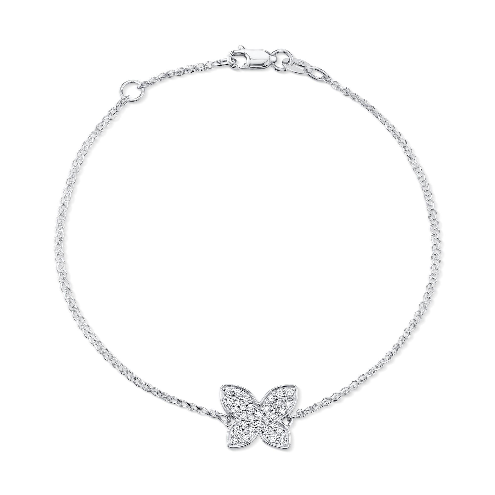 Kids' 14k White Gold Diamond Butterfly Bracelet