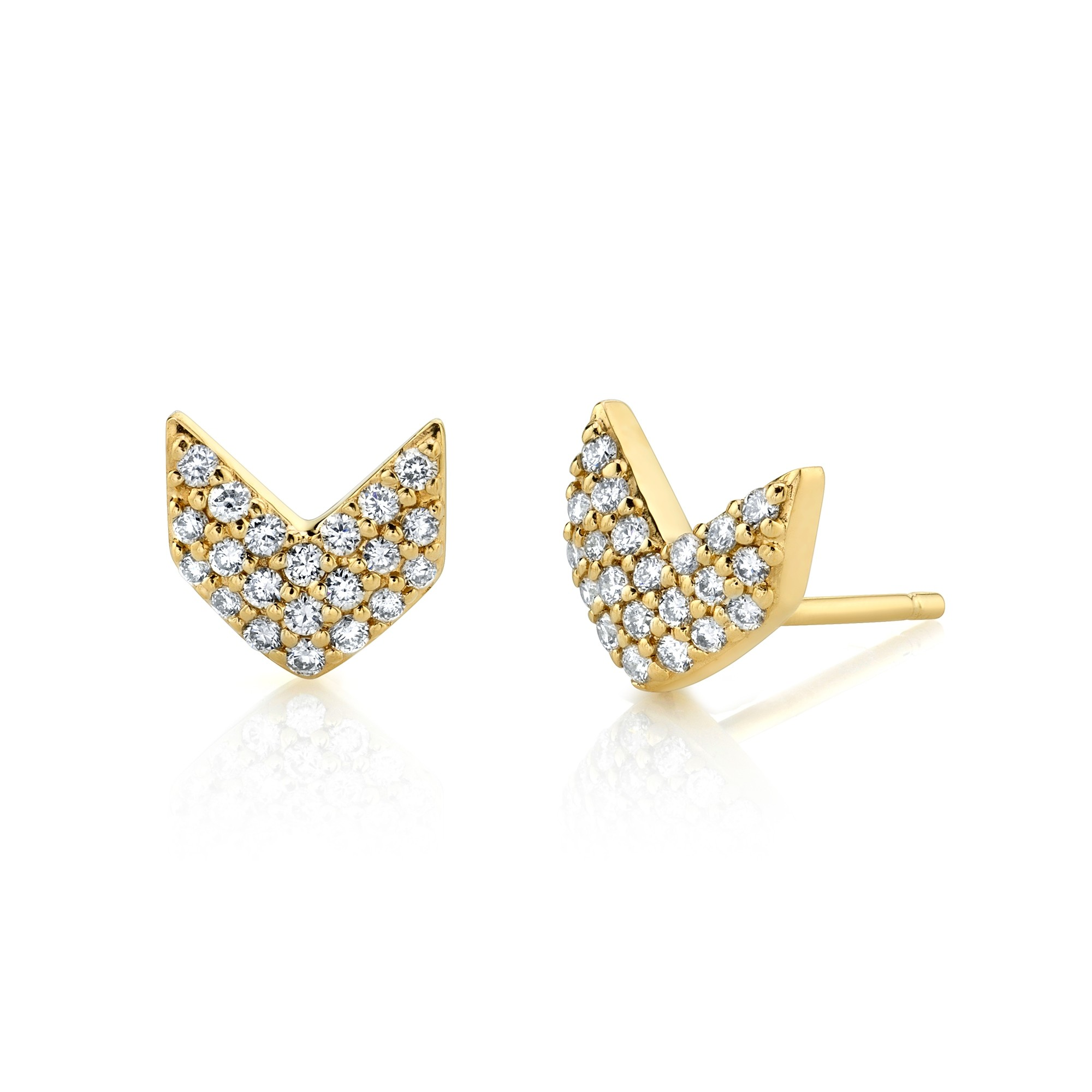 14k Yellow Gold Diamond Pave Chevron Earrings