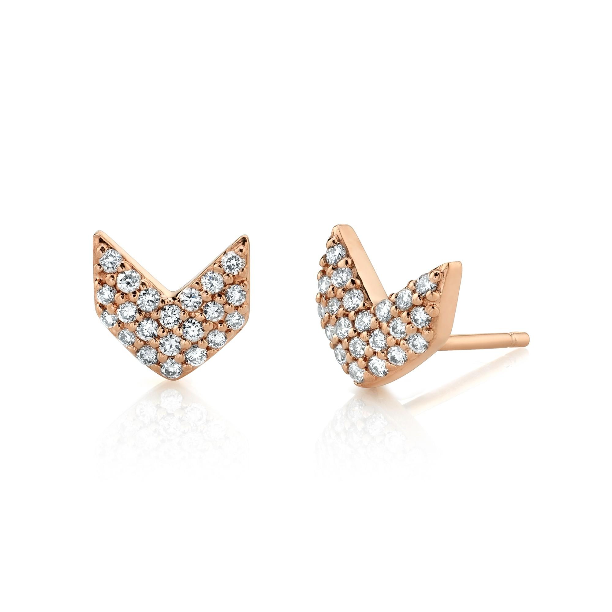 14k Rose Gold Diamond Pave Chevron Earrings