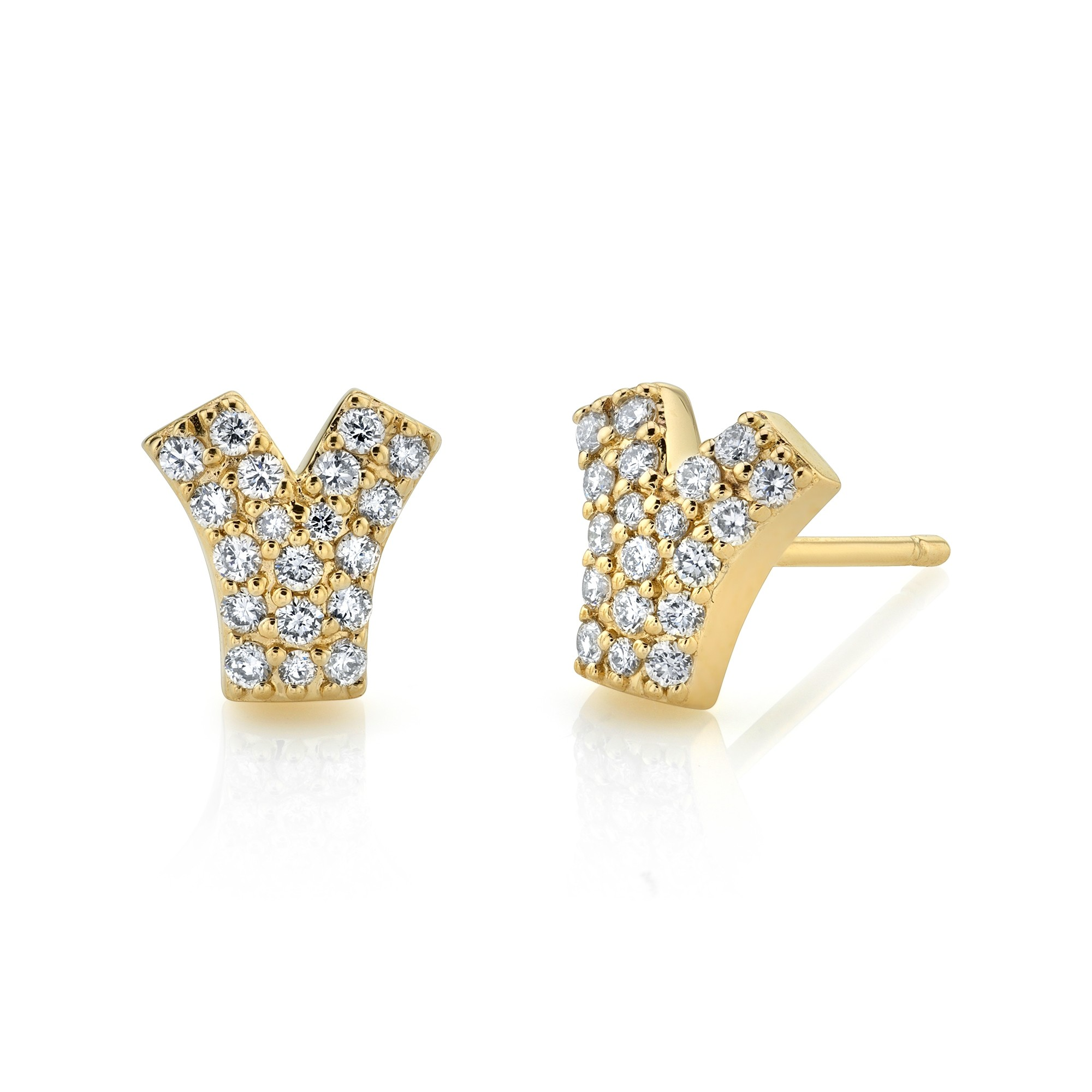 14k Yellow Gold Diamond Pave V Earrings