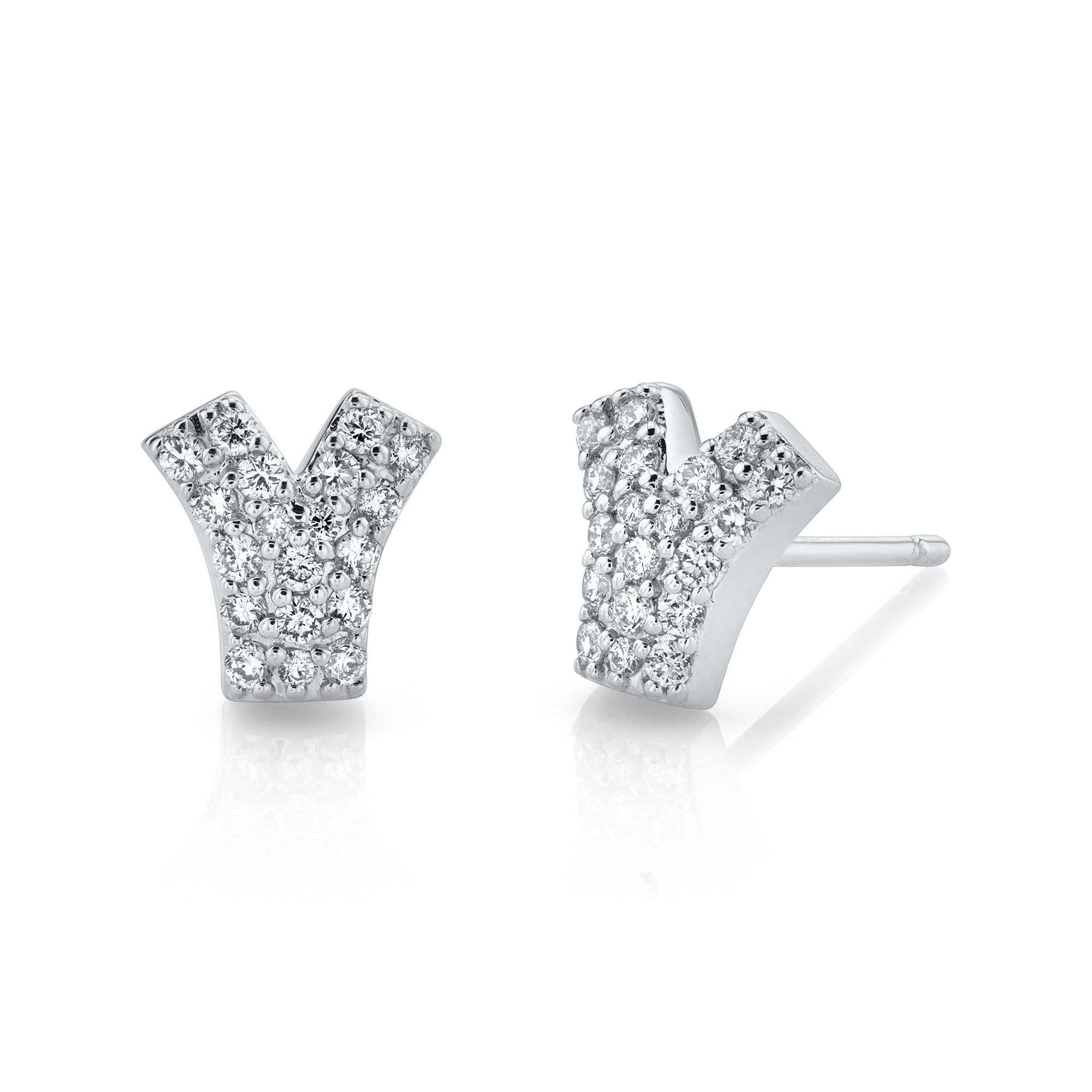 14k White Gold Diamond Pave V Earrings