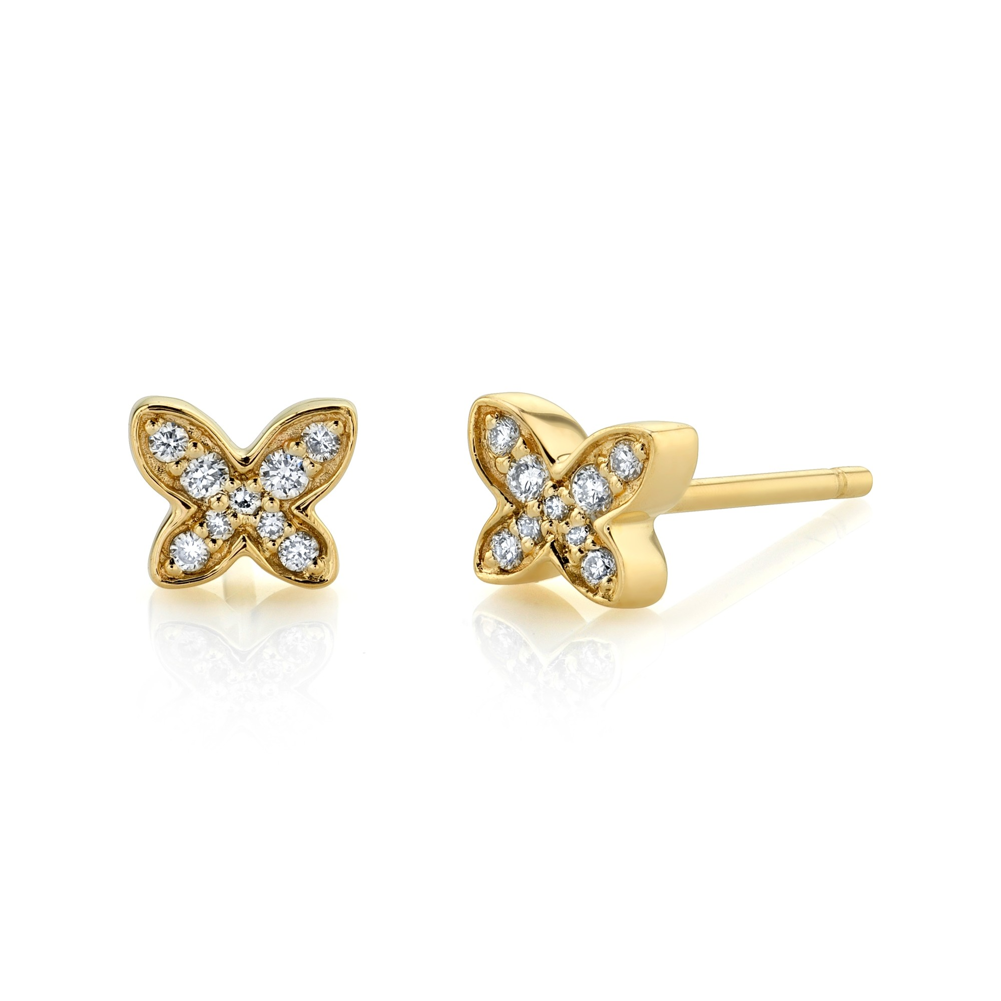 14k Yellow Gold Diamond Mini Butterfly Earrings
