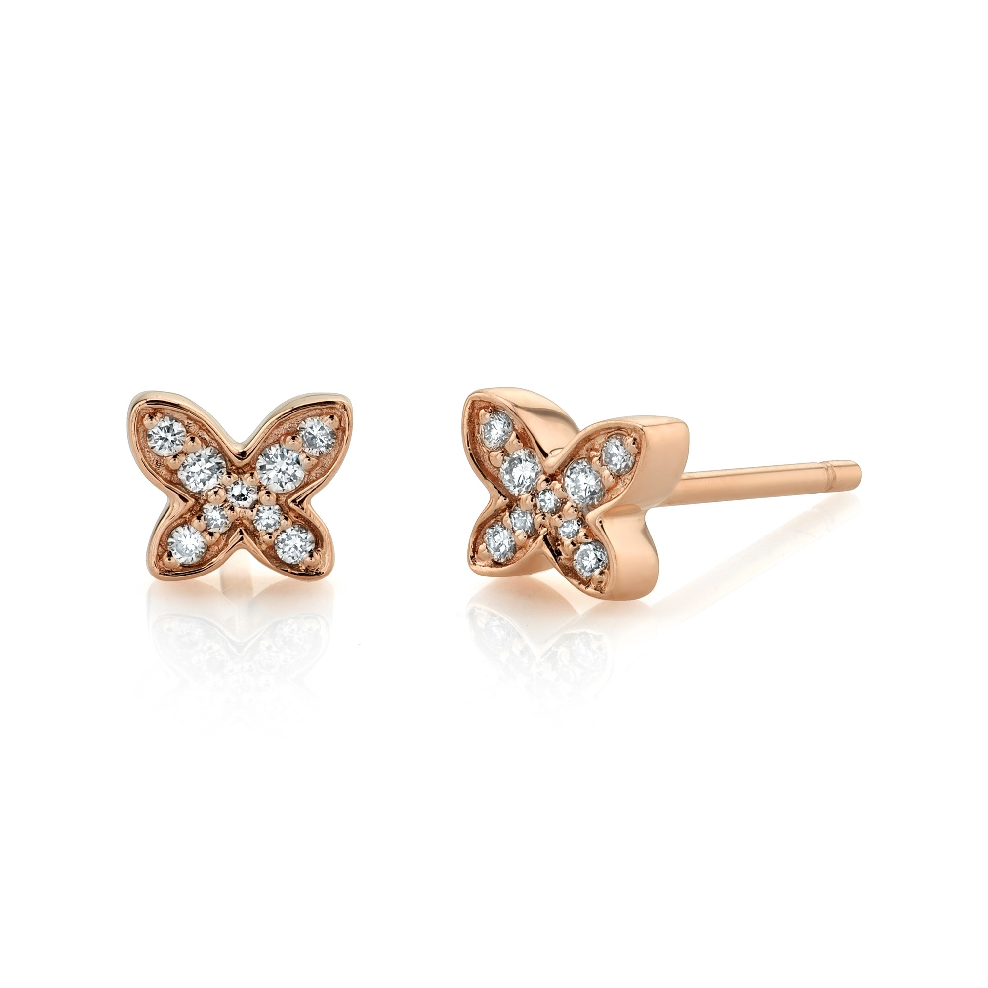 14k Rose Gold Diamond Mini Butterfly Earrings