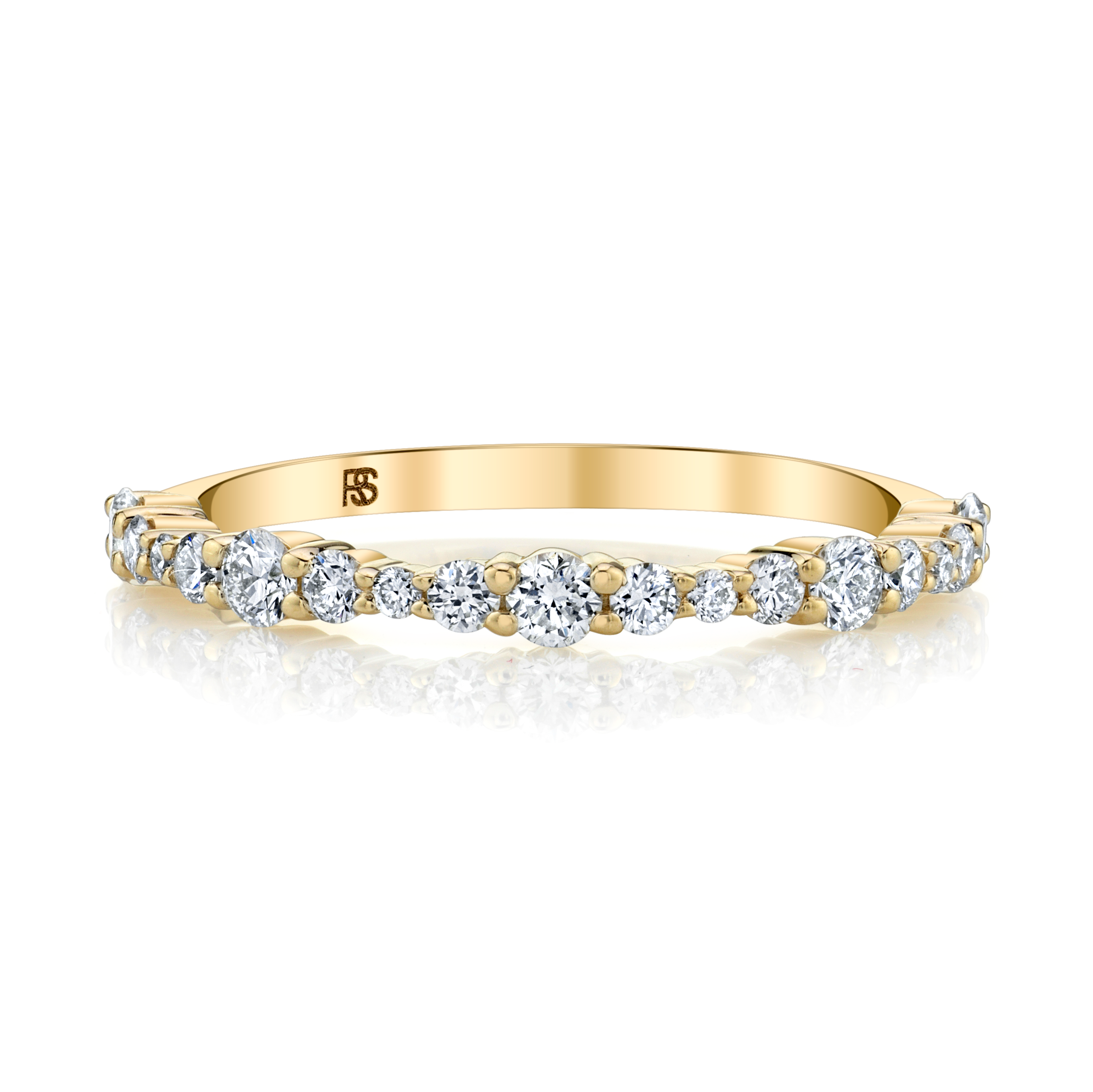 14k Yellow Gold Graduated Diamond Shared Prong Stack Ring