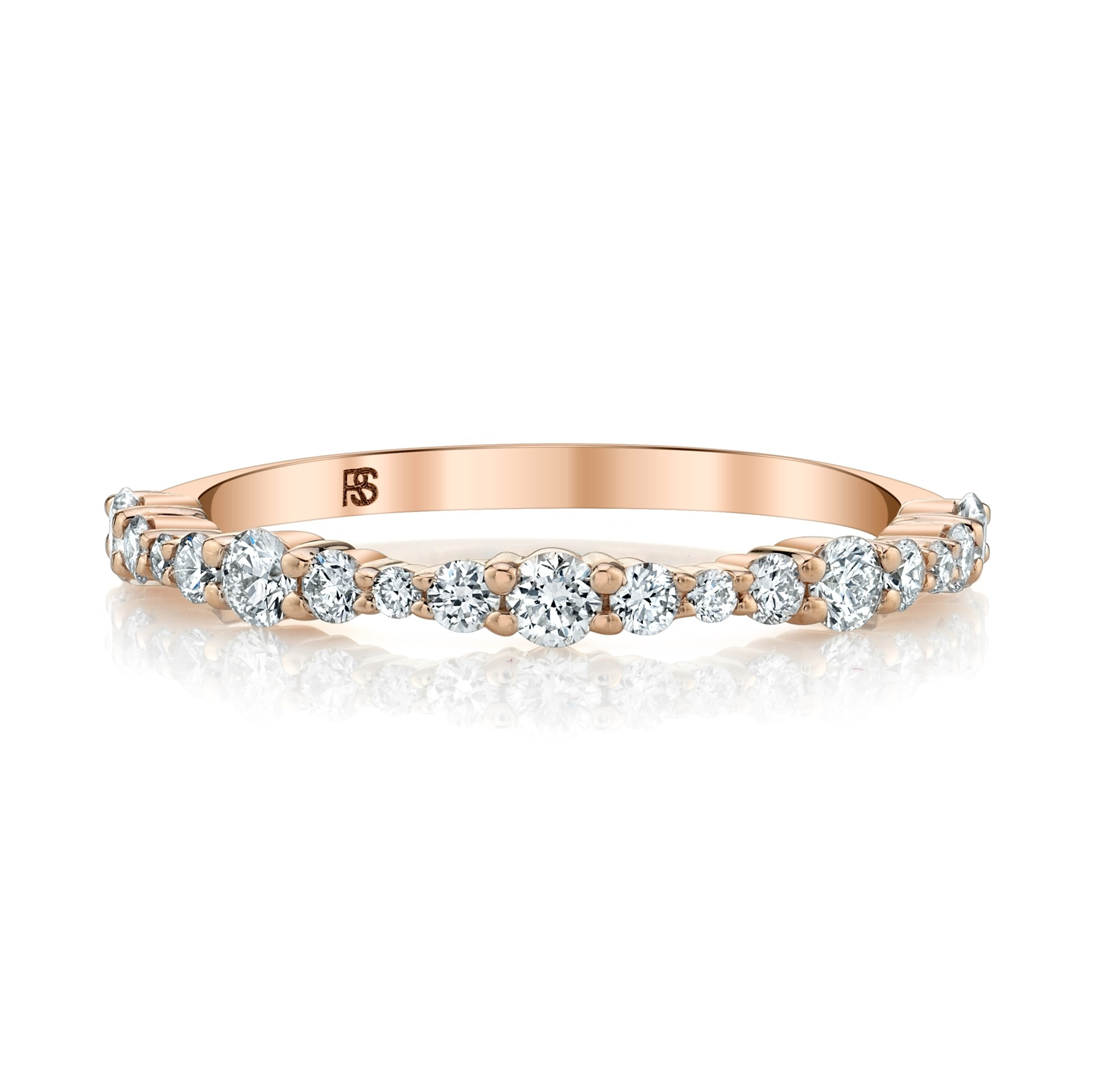 14k Rose Gold Graduated Shared Prong Ring