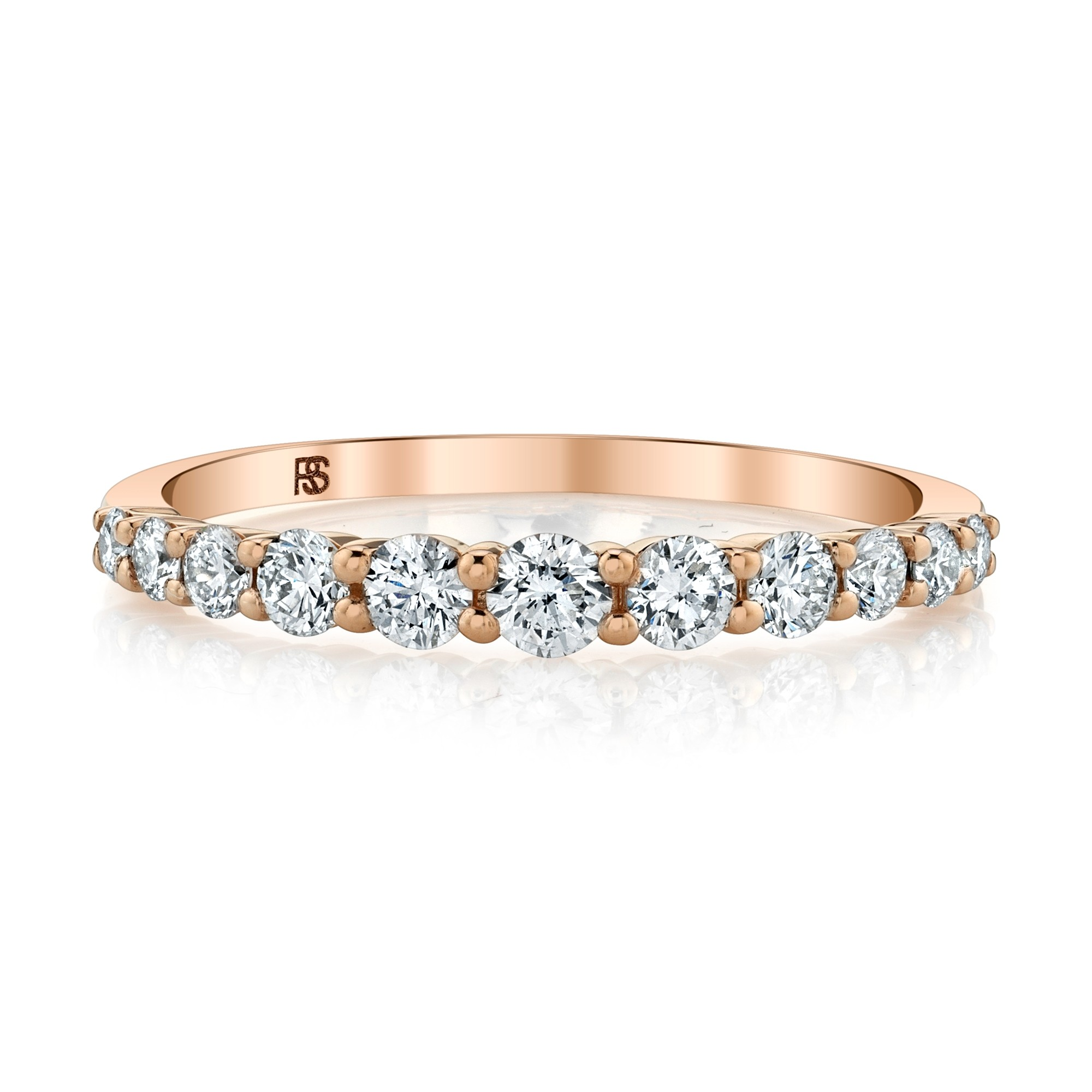 14k Rose Gold Graduated Diamond Stack Ring