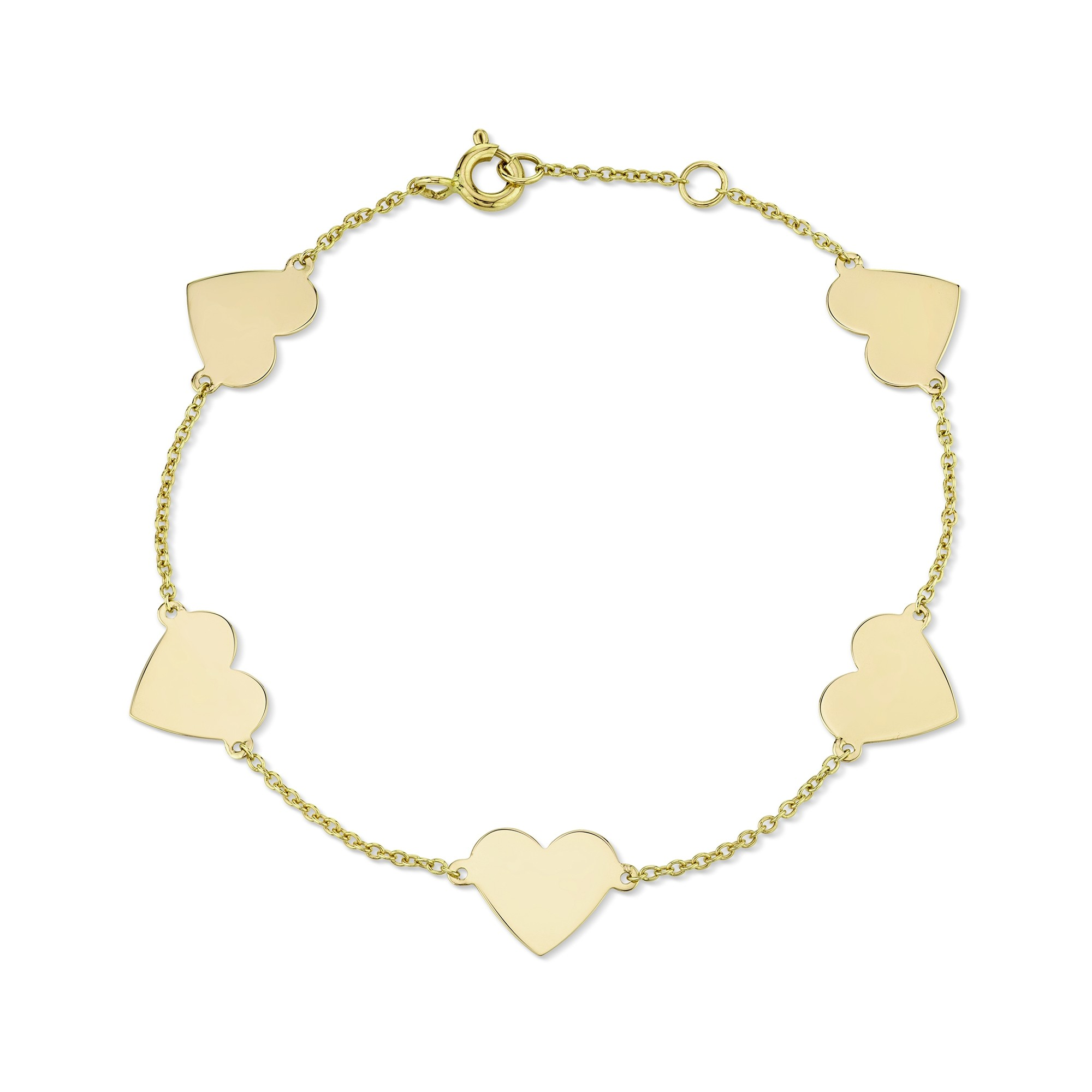 14k Yellow Gold 5 Floating Heart Bracelet