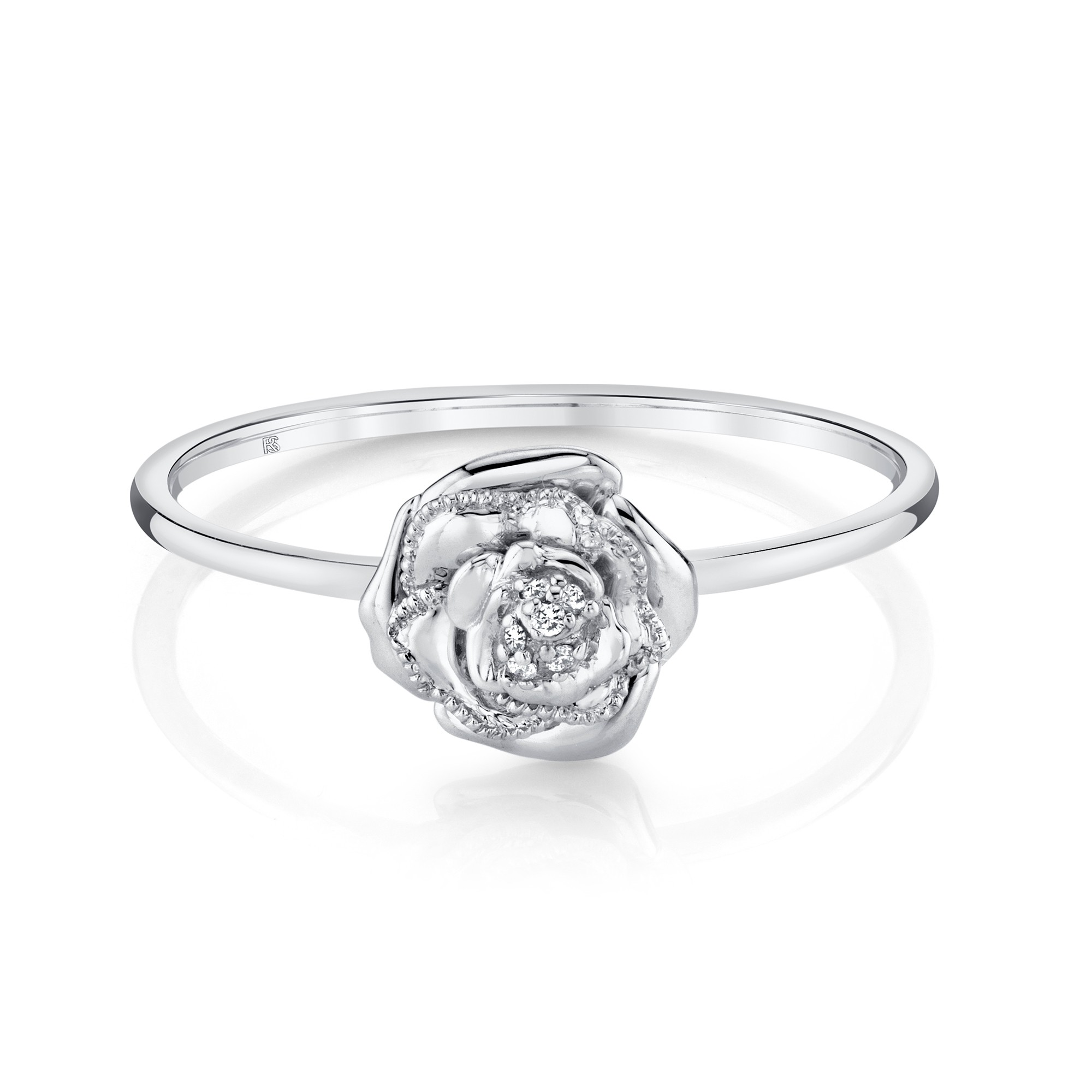 14k White Gold Diamond Rose Ring
