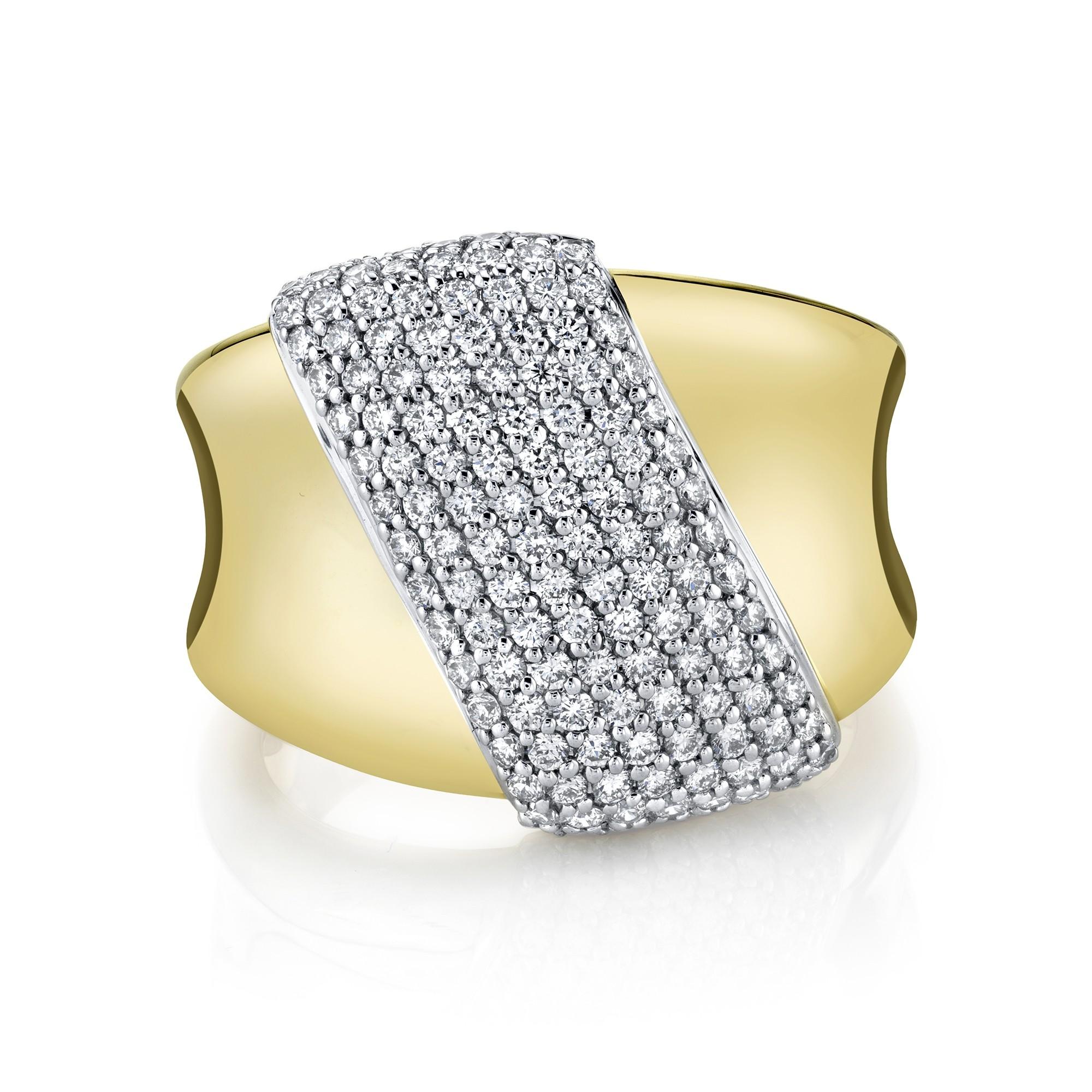 14k Yellow Gold Diamond Pave Slash Ring