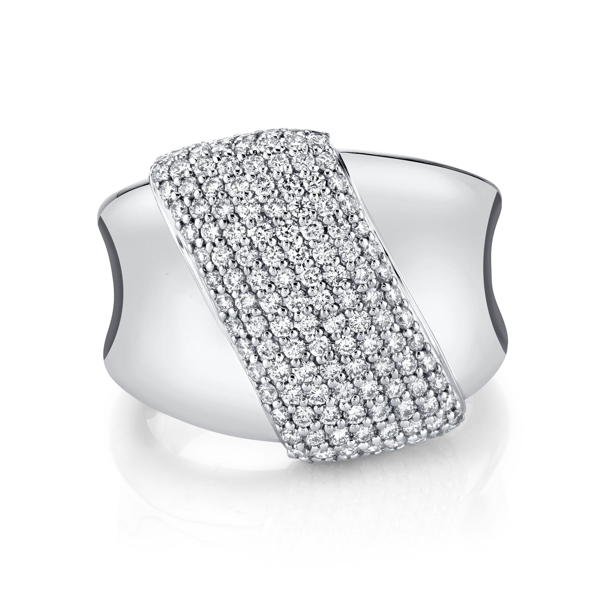 14k White Gold Diamond Pave Slash Ring