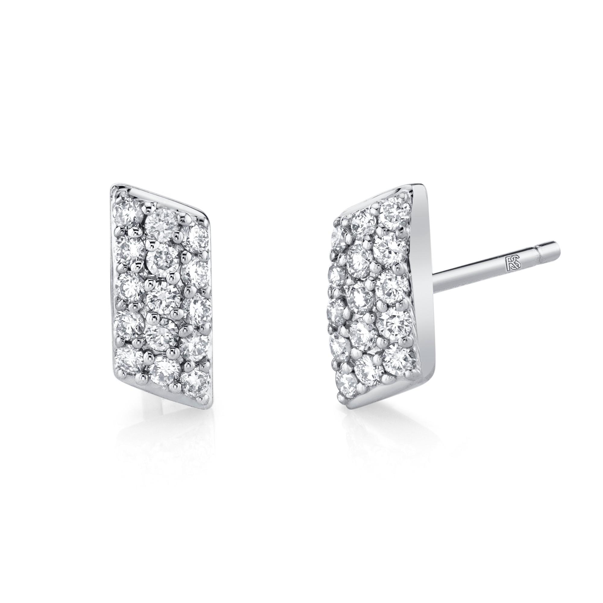 14k White Gold Diamond Pave Slash Bar Earrings