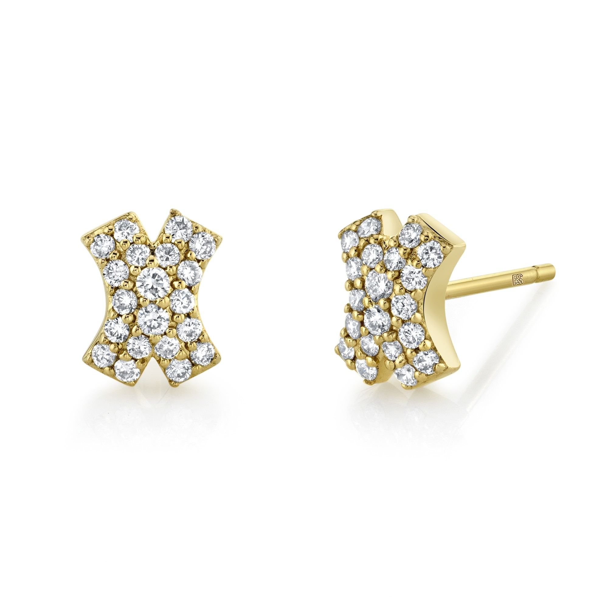 14k Yellow Gold Diamond Pave X Earrings
