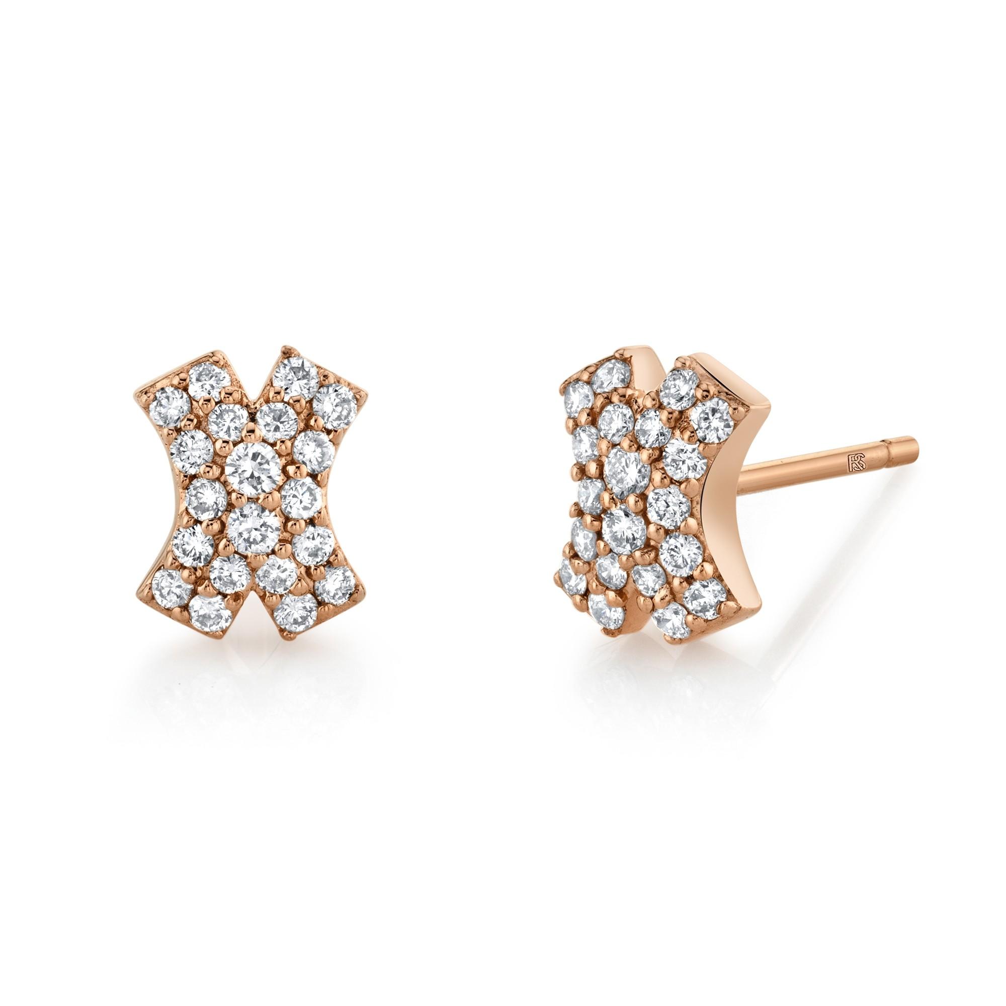 14k Rose Gold Diamond Pave X Earrings
