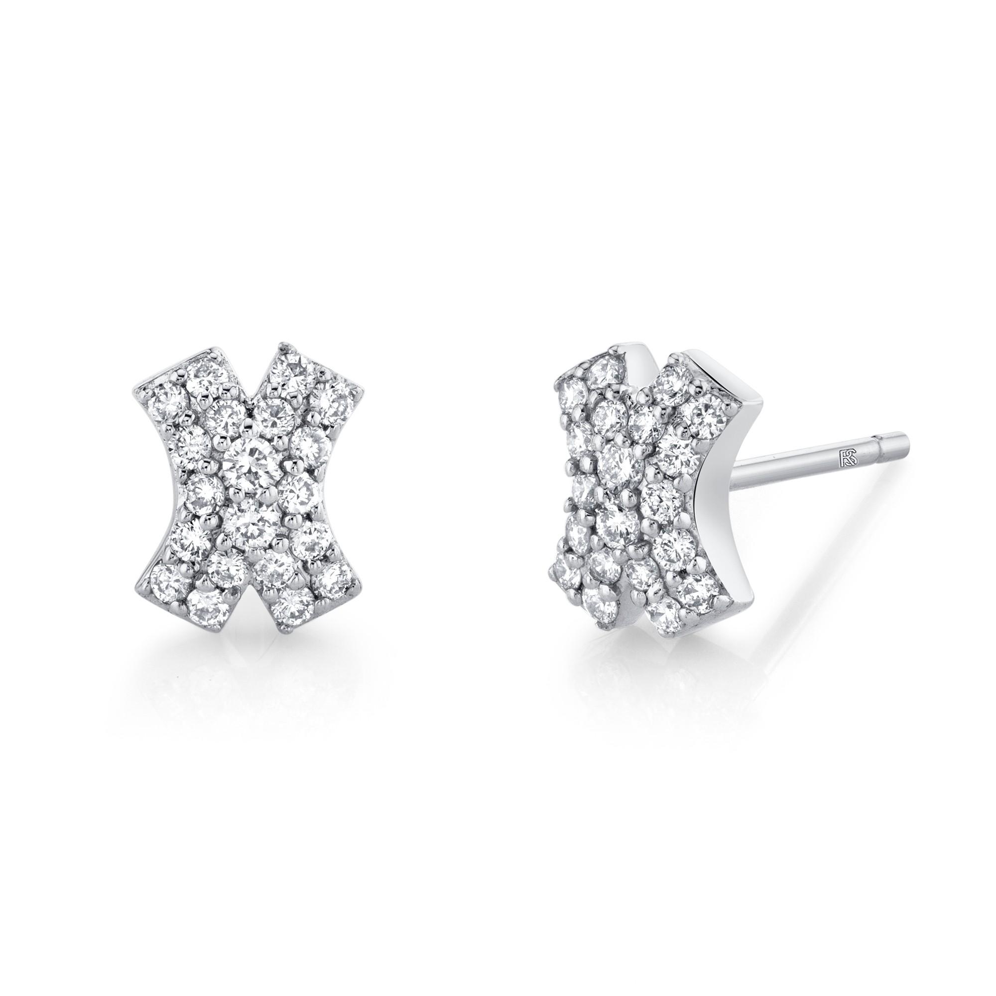 14k White Gold Diamond Pave  X Earrings