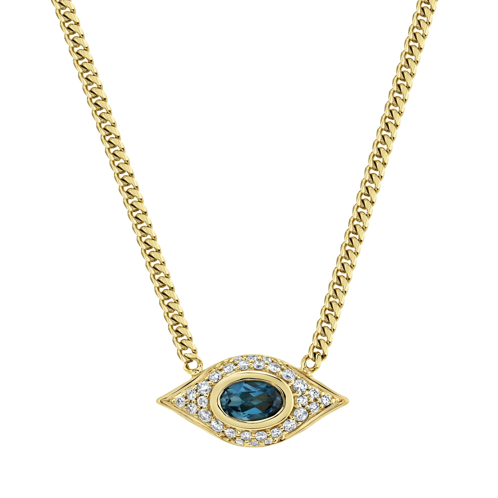 14k Yellow Gold Diamond Oval Blue Topaz Evil Eye Necklace