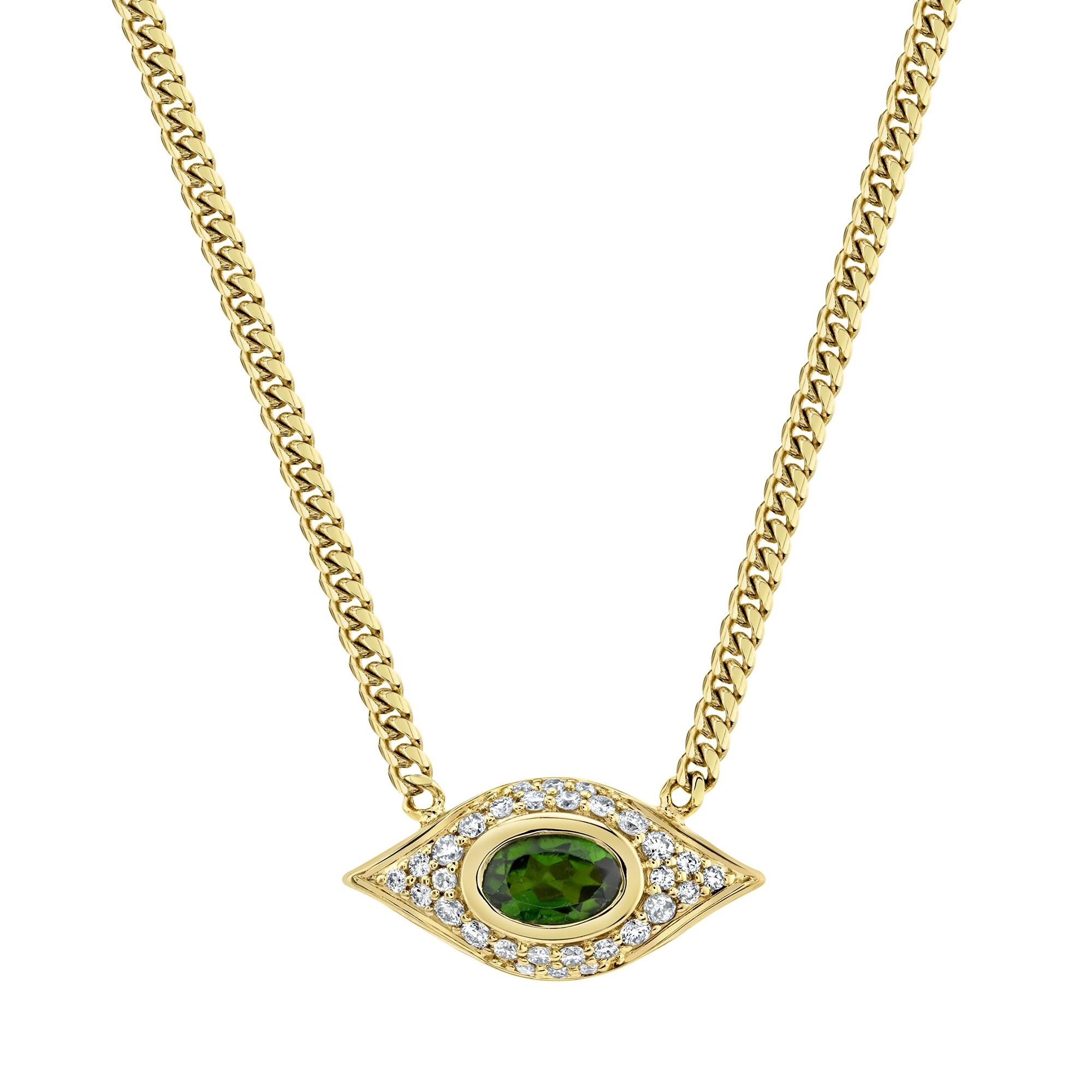 14k Yellow Gold Diamond Oval Green Tourmaline Evil Eye Necklace