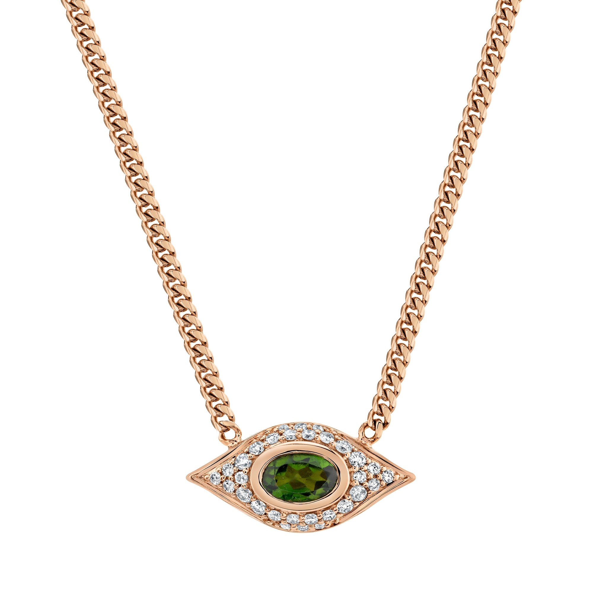 14k Rose Gold Diamond Oval Green Tourmaline Evil Eye Necklace