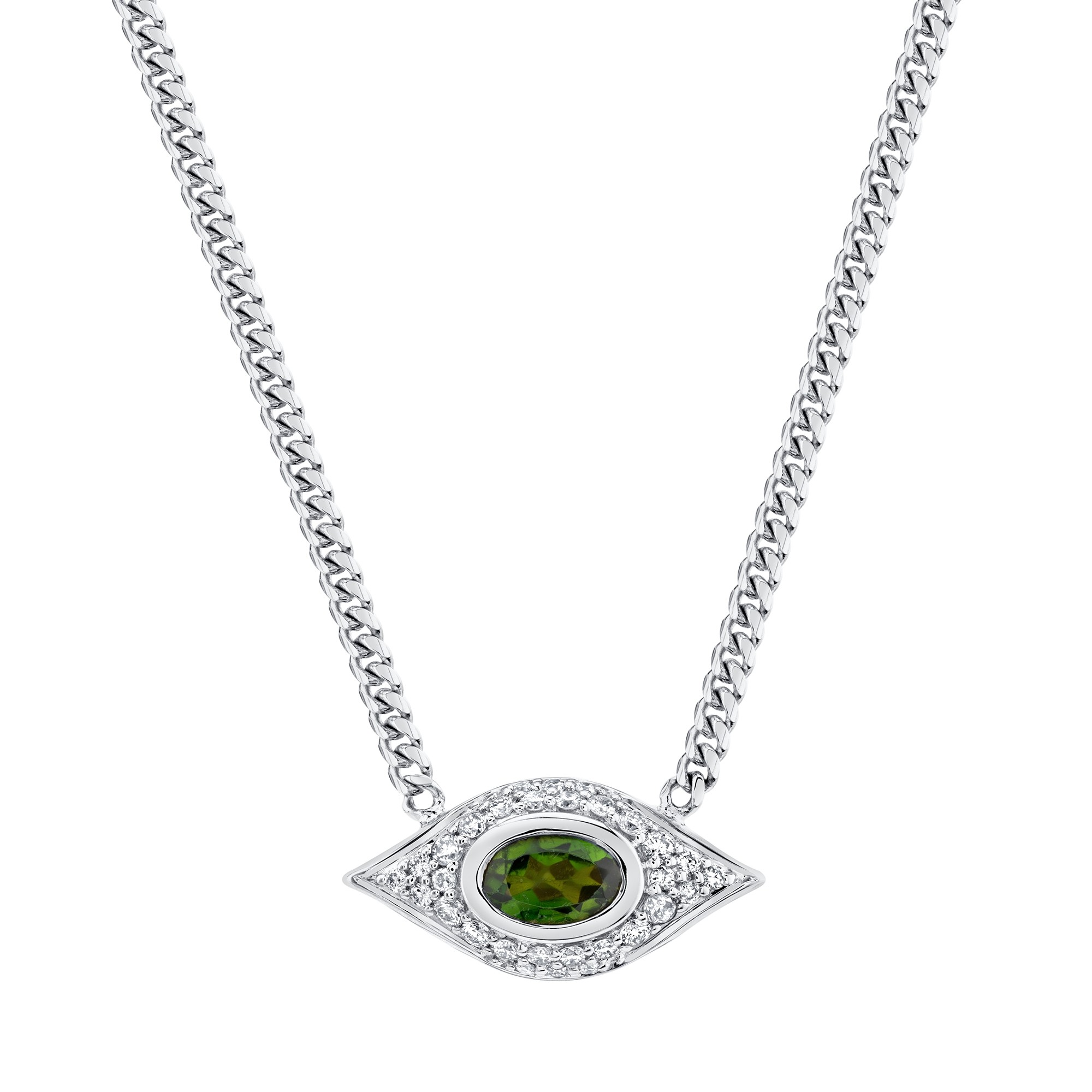 14k White Gold Diamond Oval Green Tourmaline Evil Eye Necklace