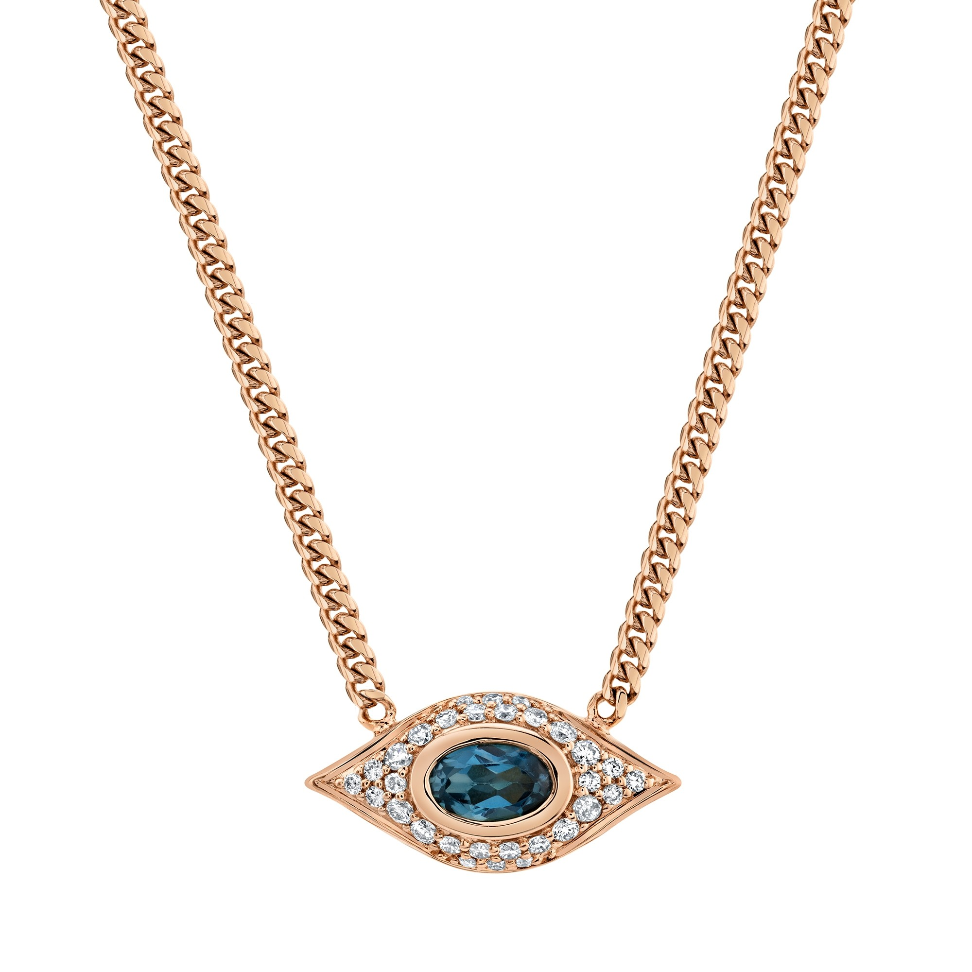 14k Rose Gold Diamond Oval Blue Topaz Evil Eye Necklace