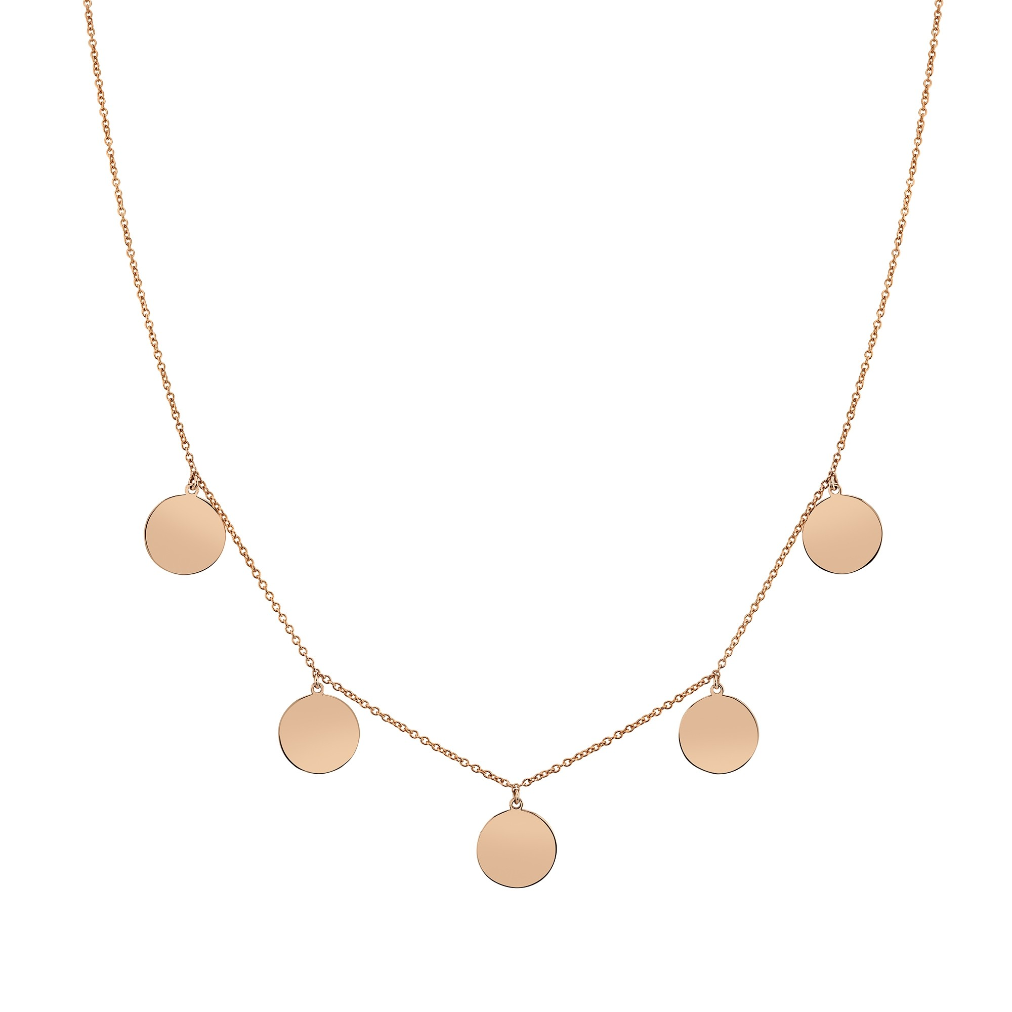 14k Rose Gold 5 Disc Necklace
